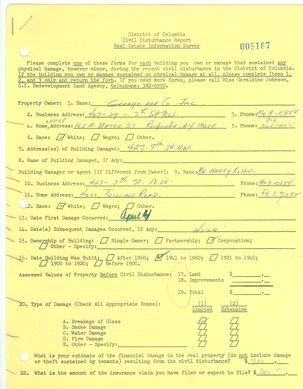 Page 1 of post-riot survey form