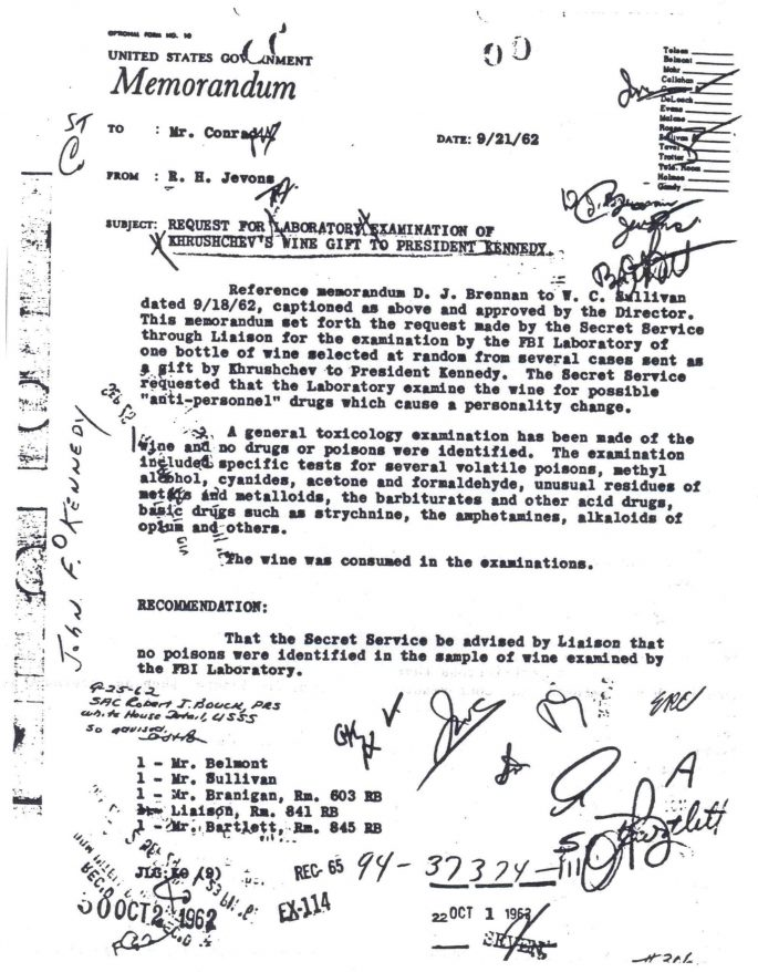 An example of a FBI document, this one describing lab tests done on wine Khrushchev gave to Kennedy