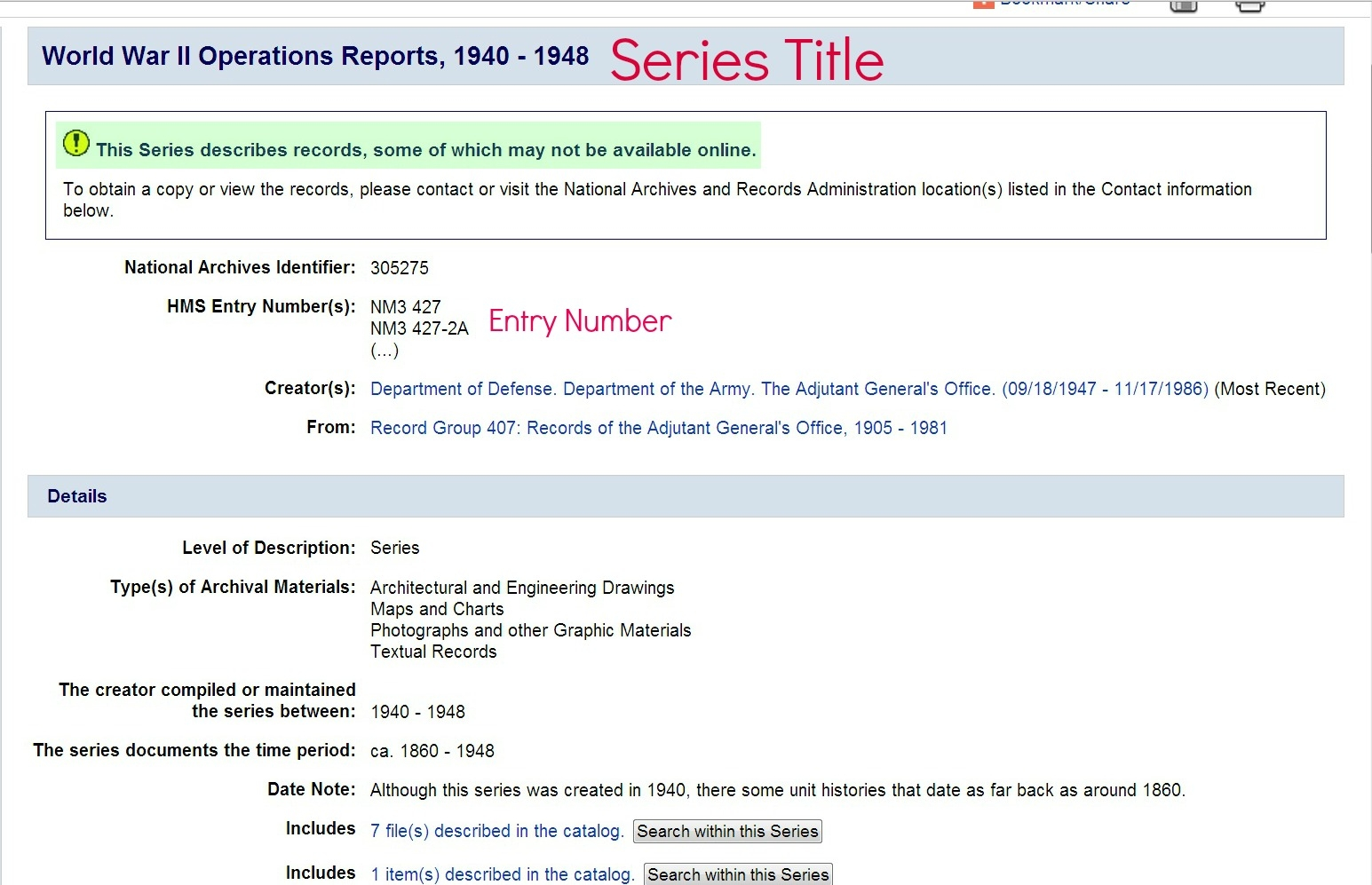 WWII Army Unit Records Series Description