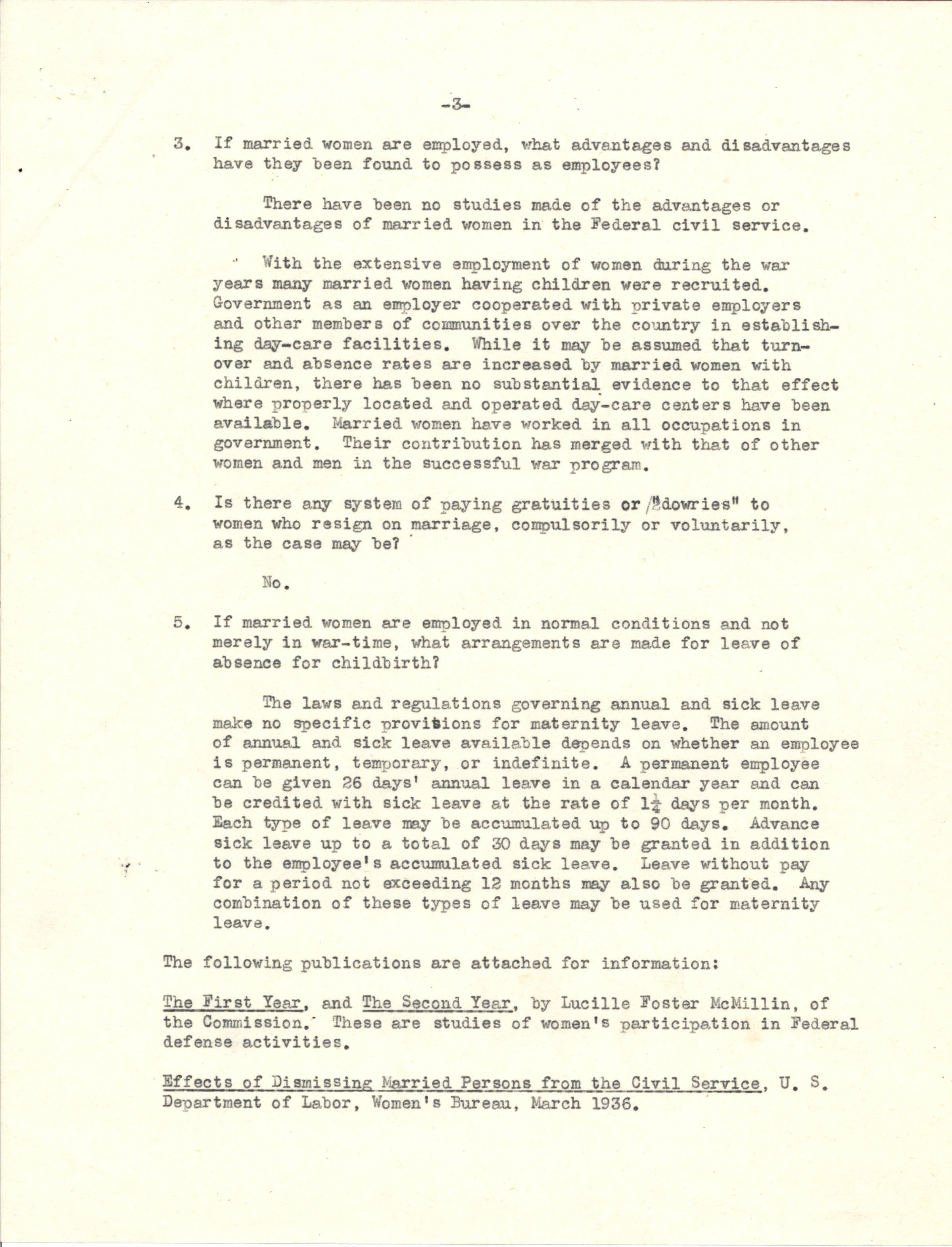US Civil Service Commission response regarding the employment of married women