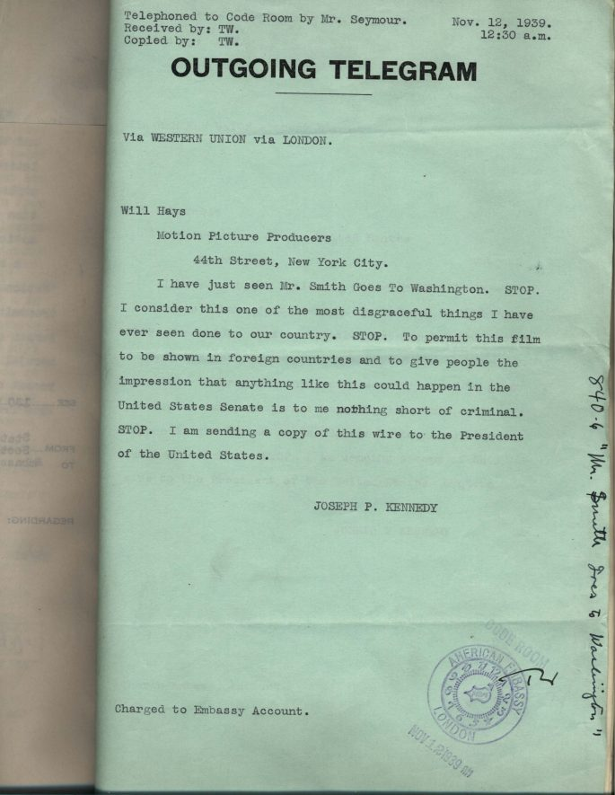 "Ambassador Kennedy's Telegram re: ""Mr. Smith Goes to Washington"""