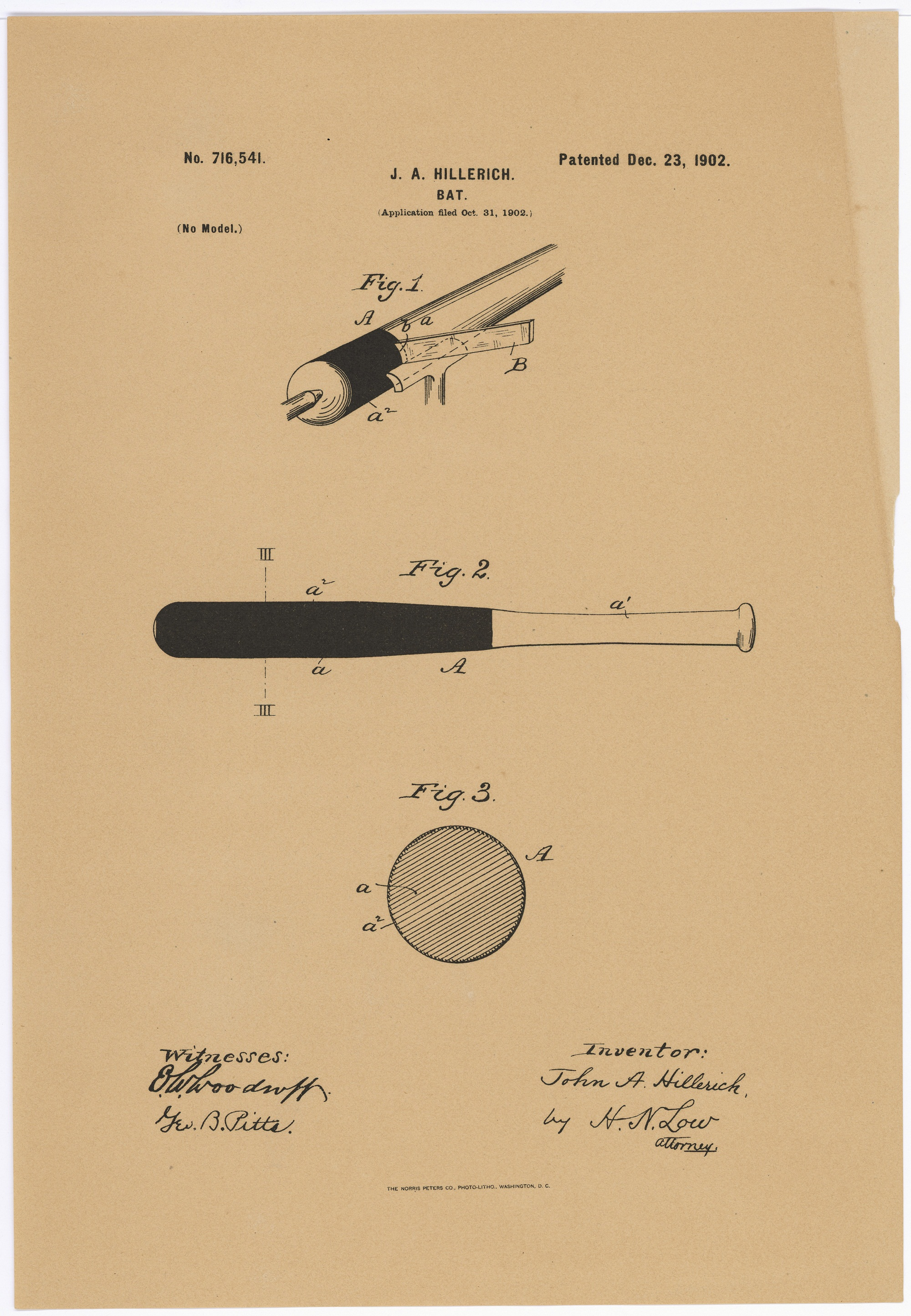 Patent for improvements in baseball bats (Patent 716,541)