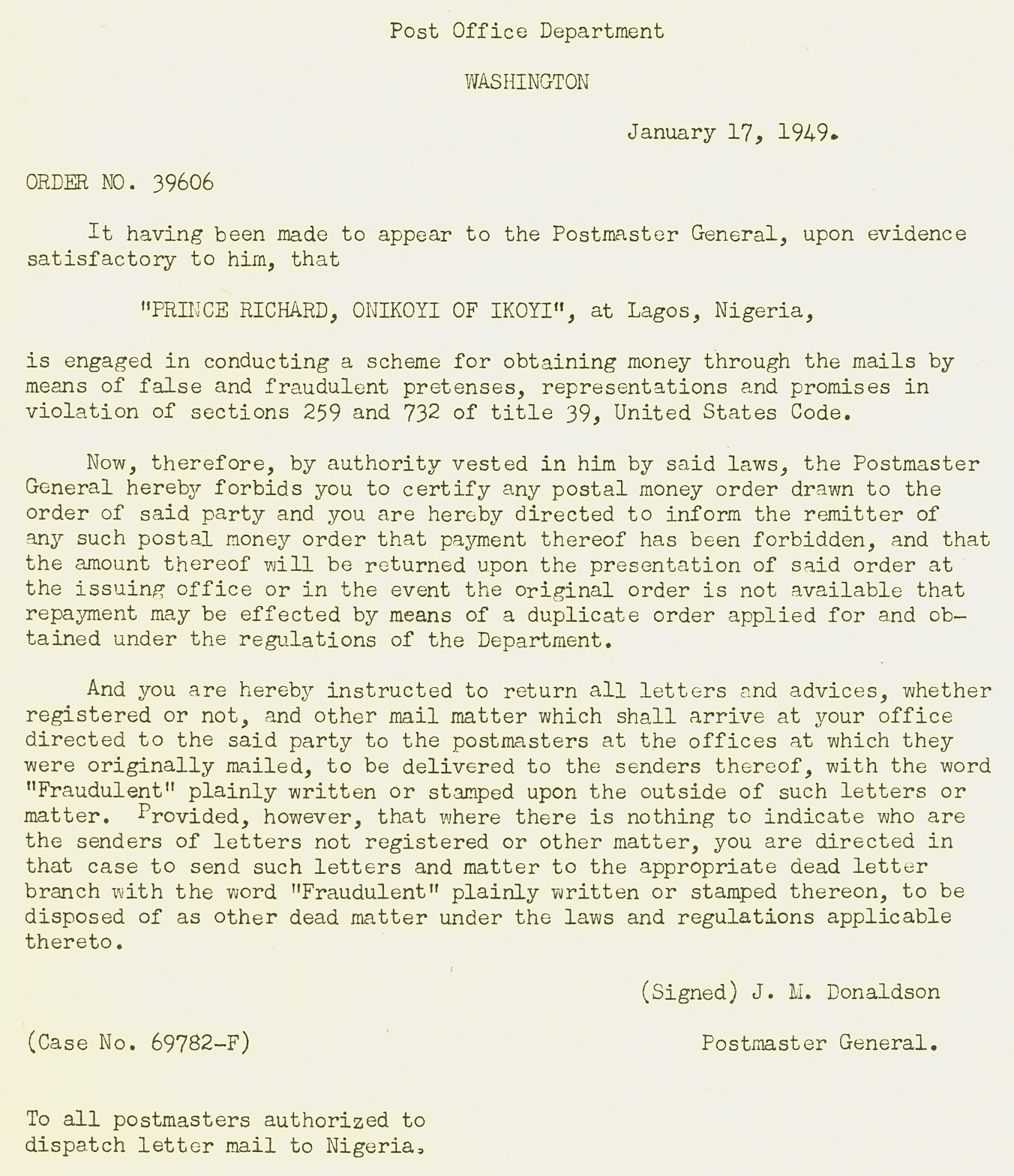 Post Master General Letter about Nigerian Prince
