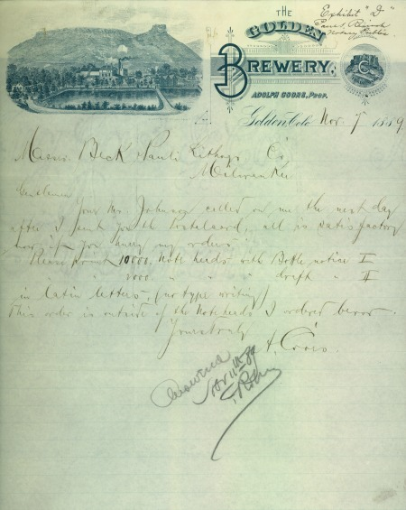 letter written on Golden Brewery stationary showing Castle Rock