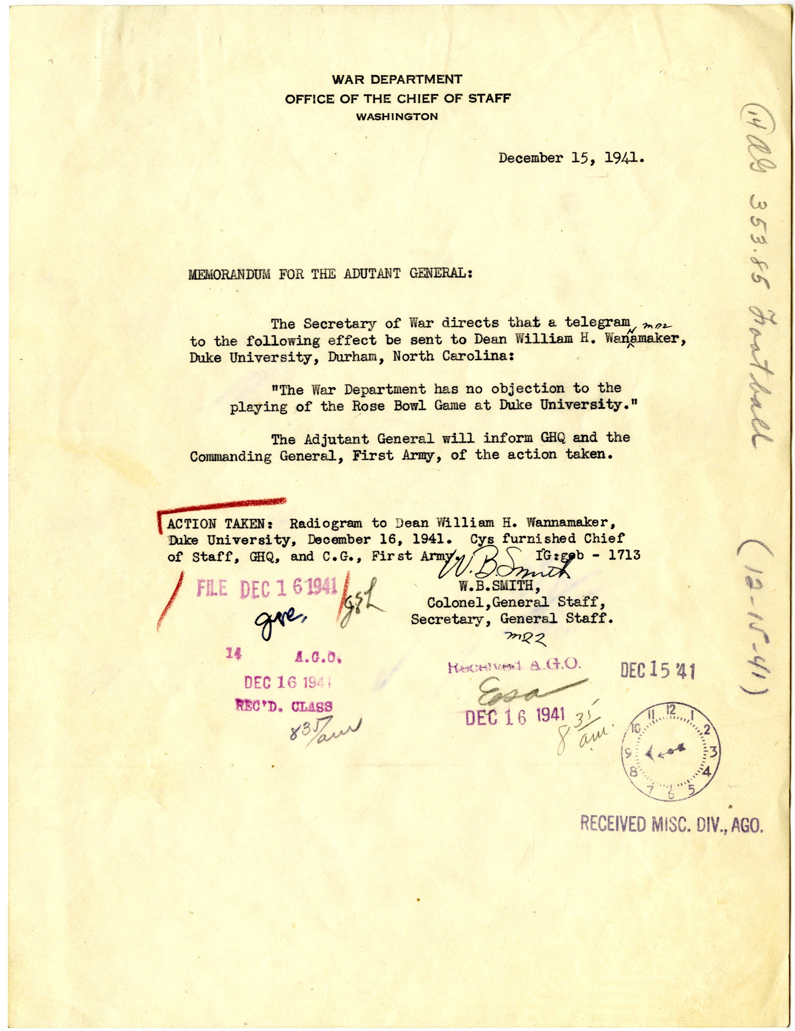 Memorandum for the Adjutant General from Colonel W. B. Smith, 12/15/1941