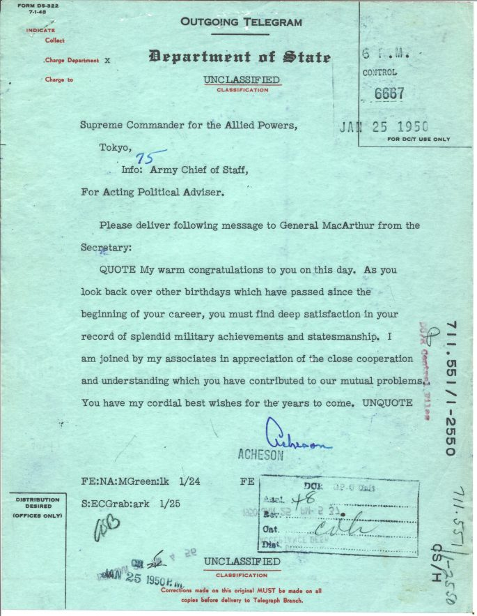 Telegram from Dean Acheson to Douglas MacArthur expressing best wishes on his 70th birthday