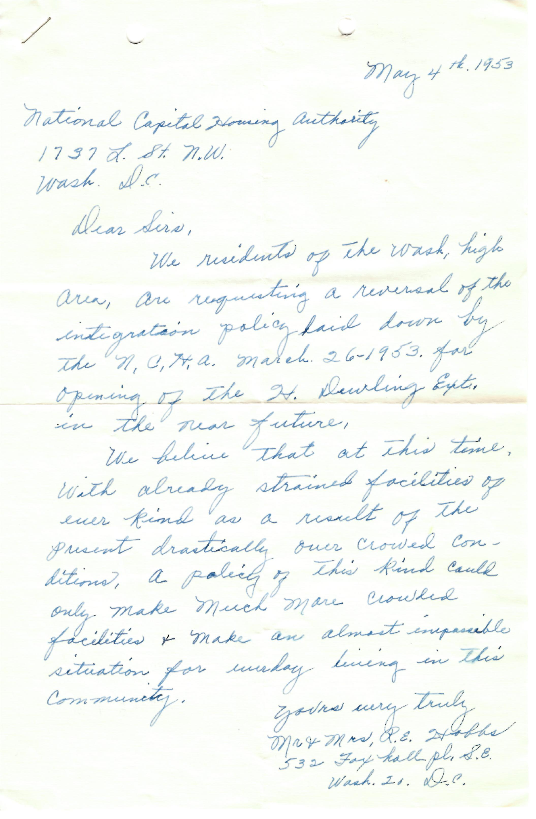 1953 anti-desegration letter