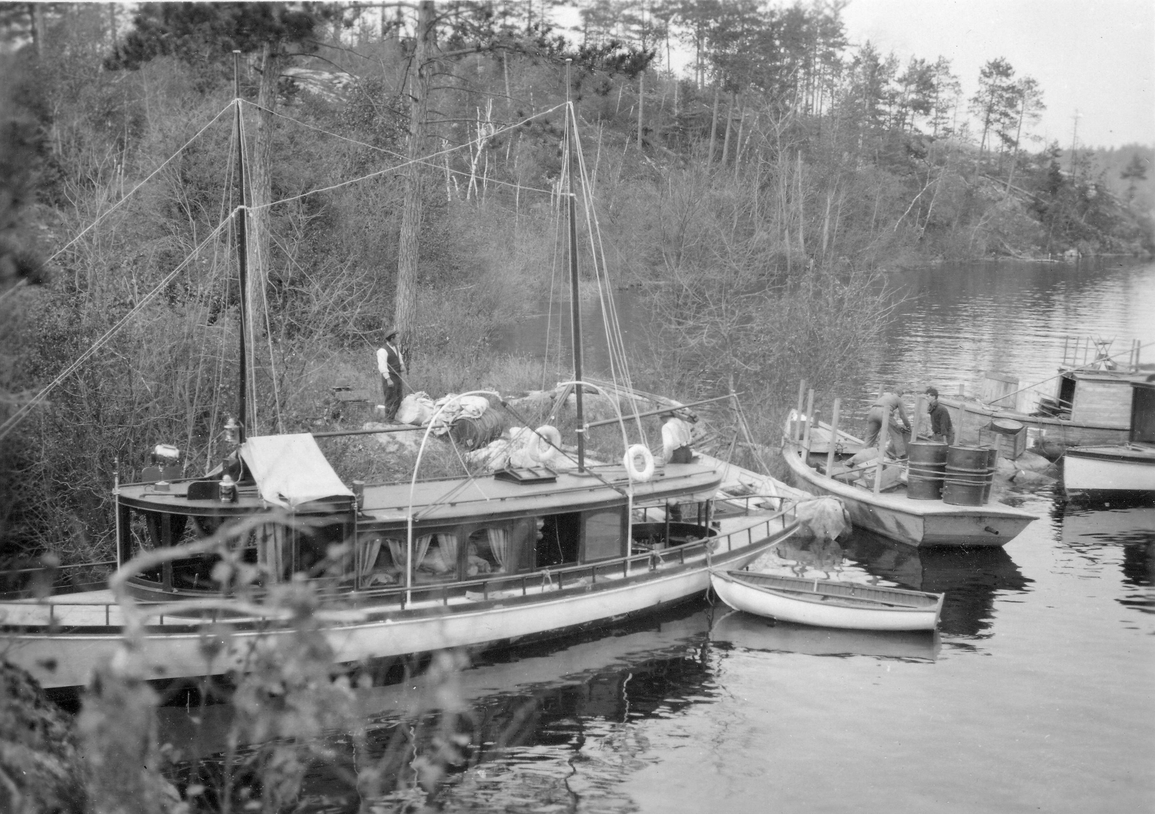photo of survey vessels on the banks of a river