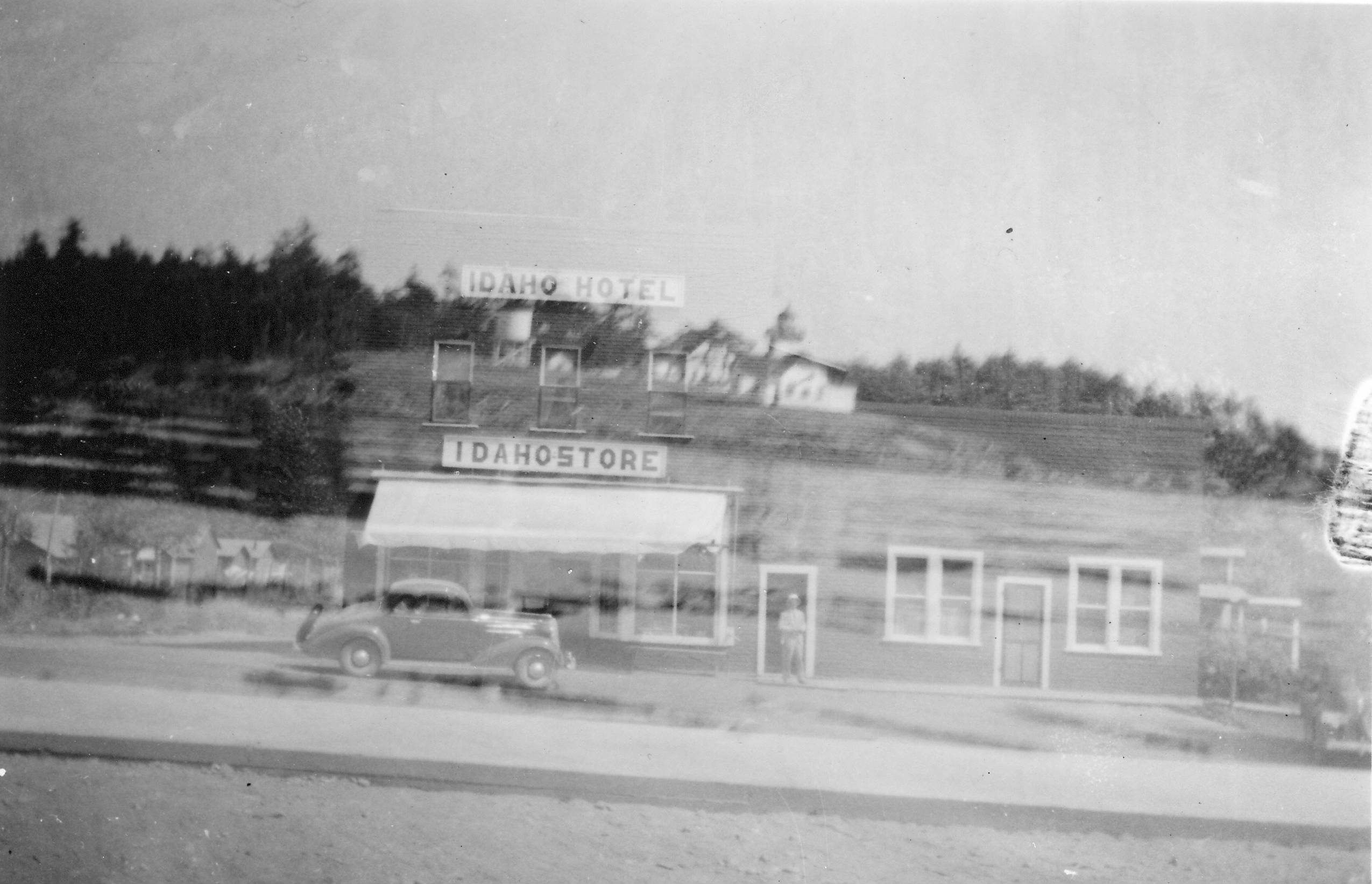 76-BS-TR-1936-9 Double Exposure of Idaho Hotel and Store, 1936