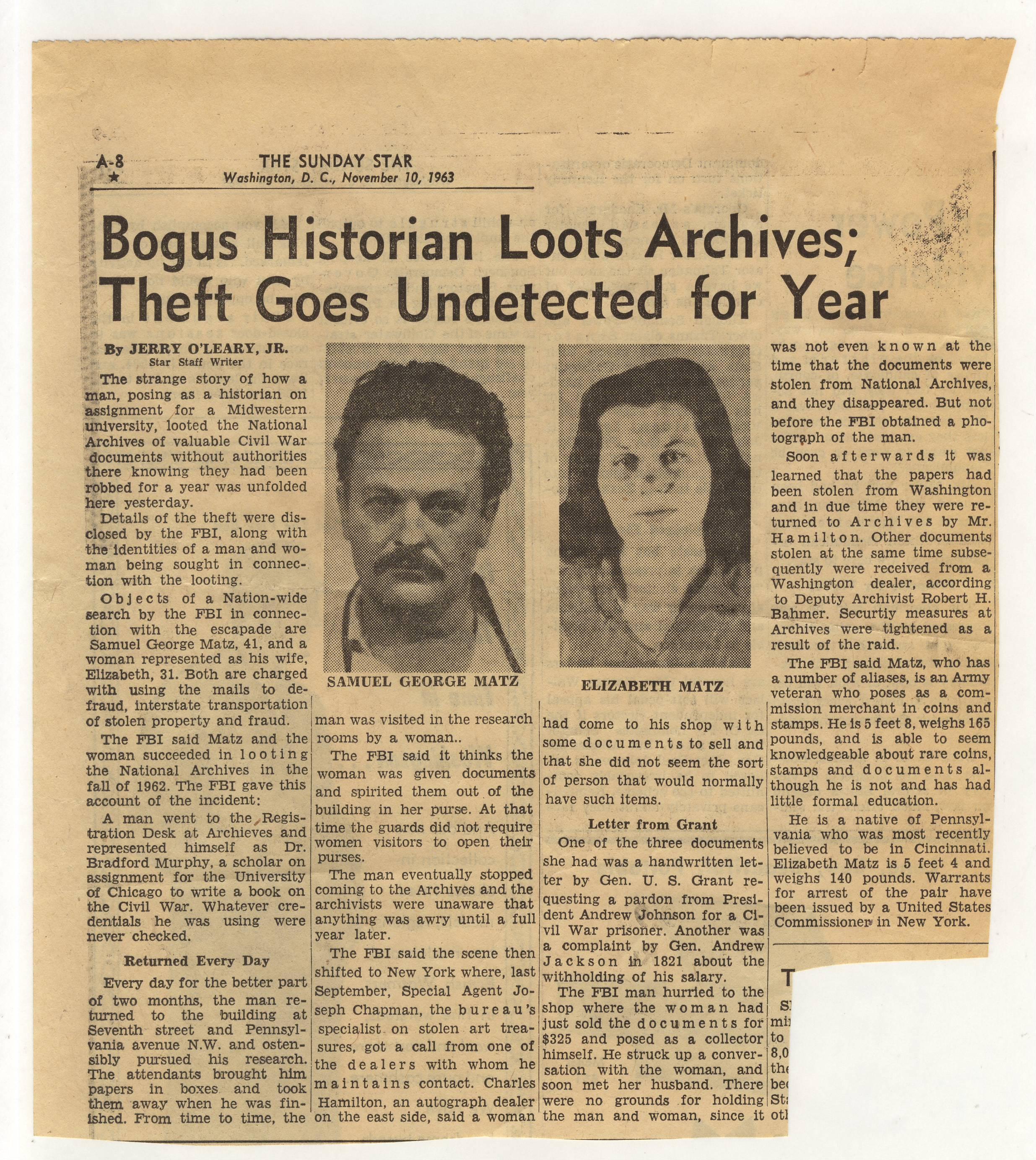 RG 64, P 67, file 1962 - Matz Theft Case from NA, Nov.