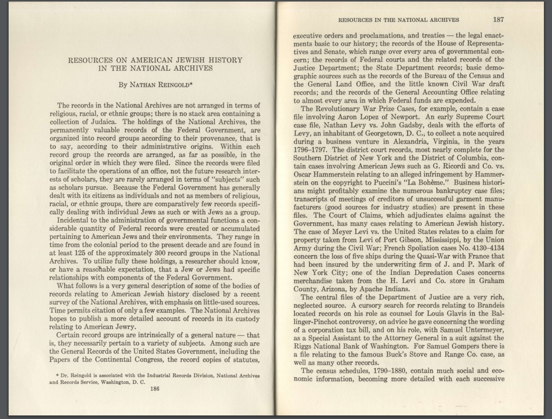 Pages from Article re Am. Jewish History in the National Archives, 1958