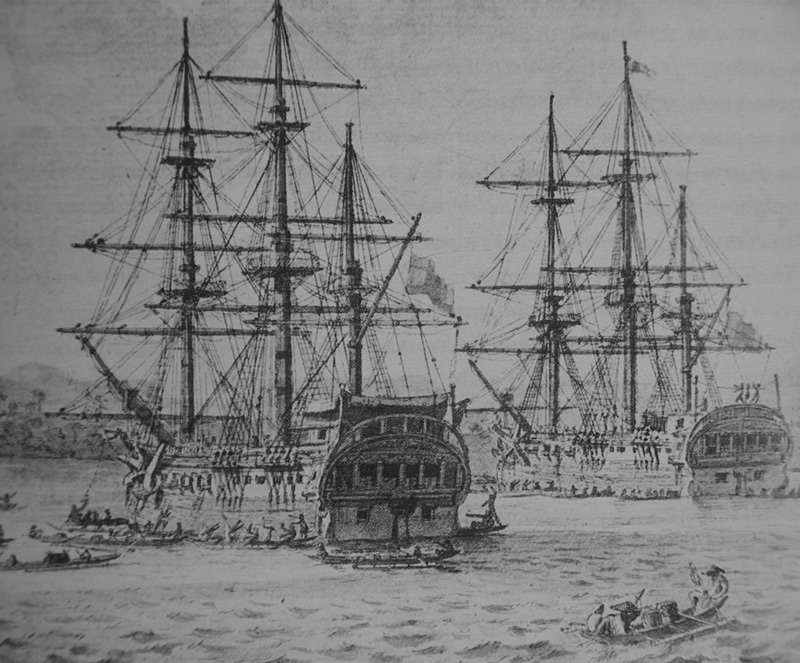 Drawing of the corvettes Descubierta and Atrevida.
