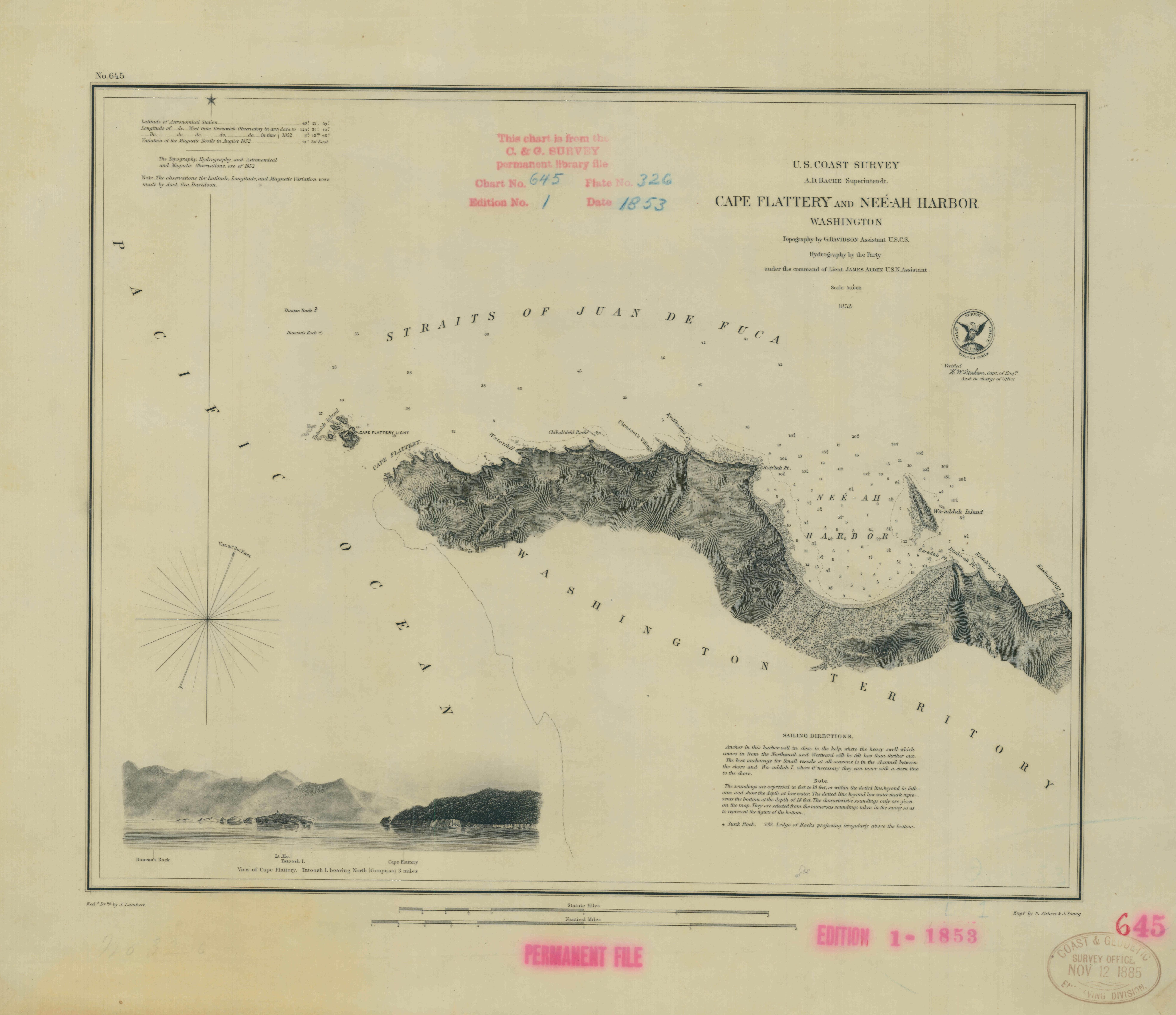 Map of Cape Flattery and Nee-Ah Harbor, Washington, 1853
