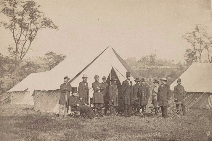Photo of Group of President Lincoln, Gen. McClellan, and suite, at headquarters Army of Potomac, previous to reviewing the troops and the battle-field of Antietam, 3d Oct., 1862. Gen. Randolph B. Marcy fourth from Left, Gen. McClellan fourth from right.