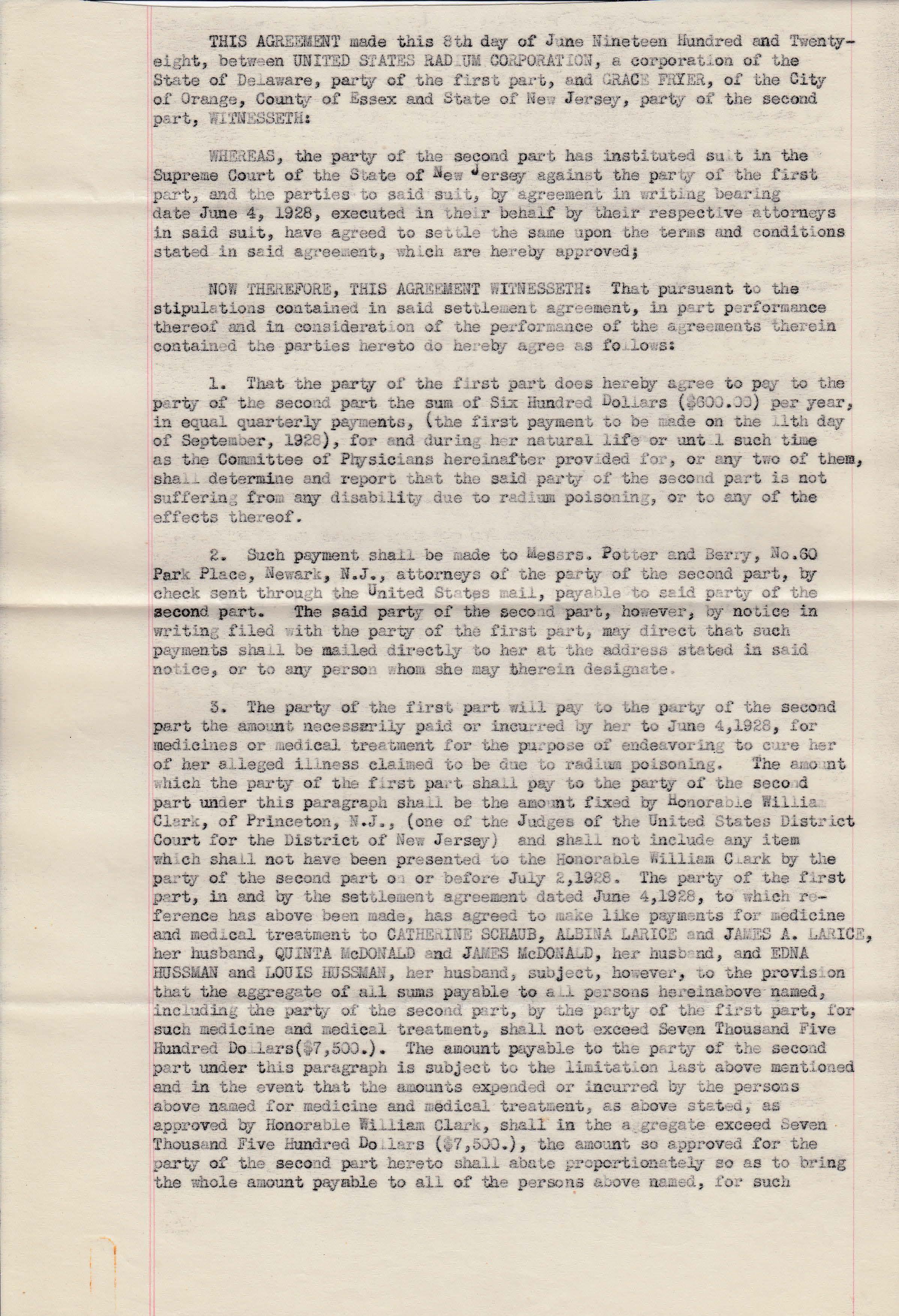 1928 June Fryer et al_Settlement Agreement_Page_1
