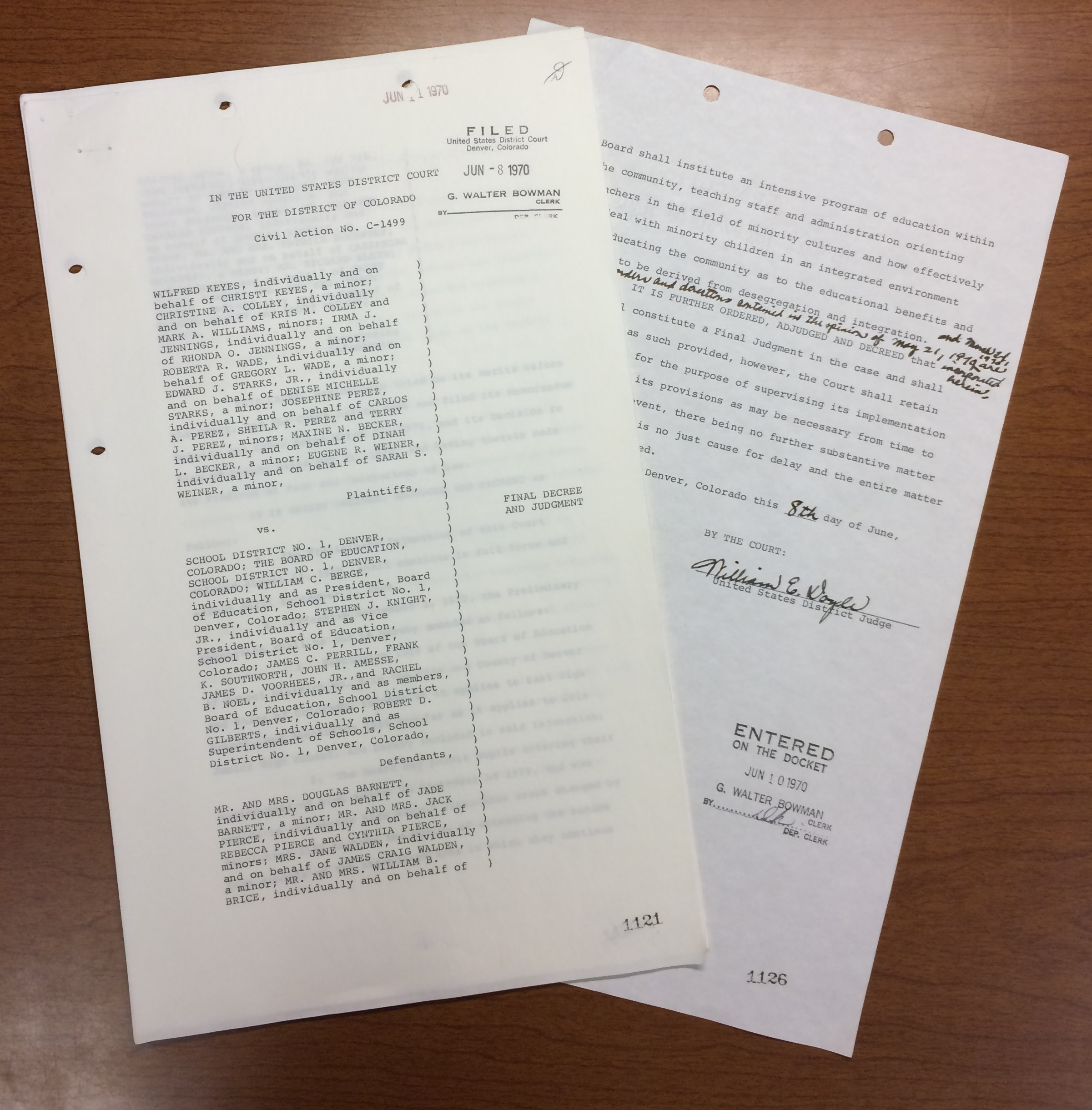 Image of documents from the Final Decree and Judgement signed by Judge Doyle.