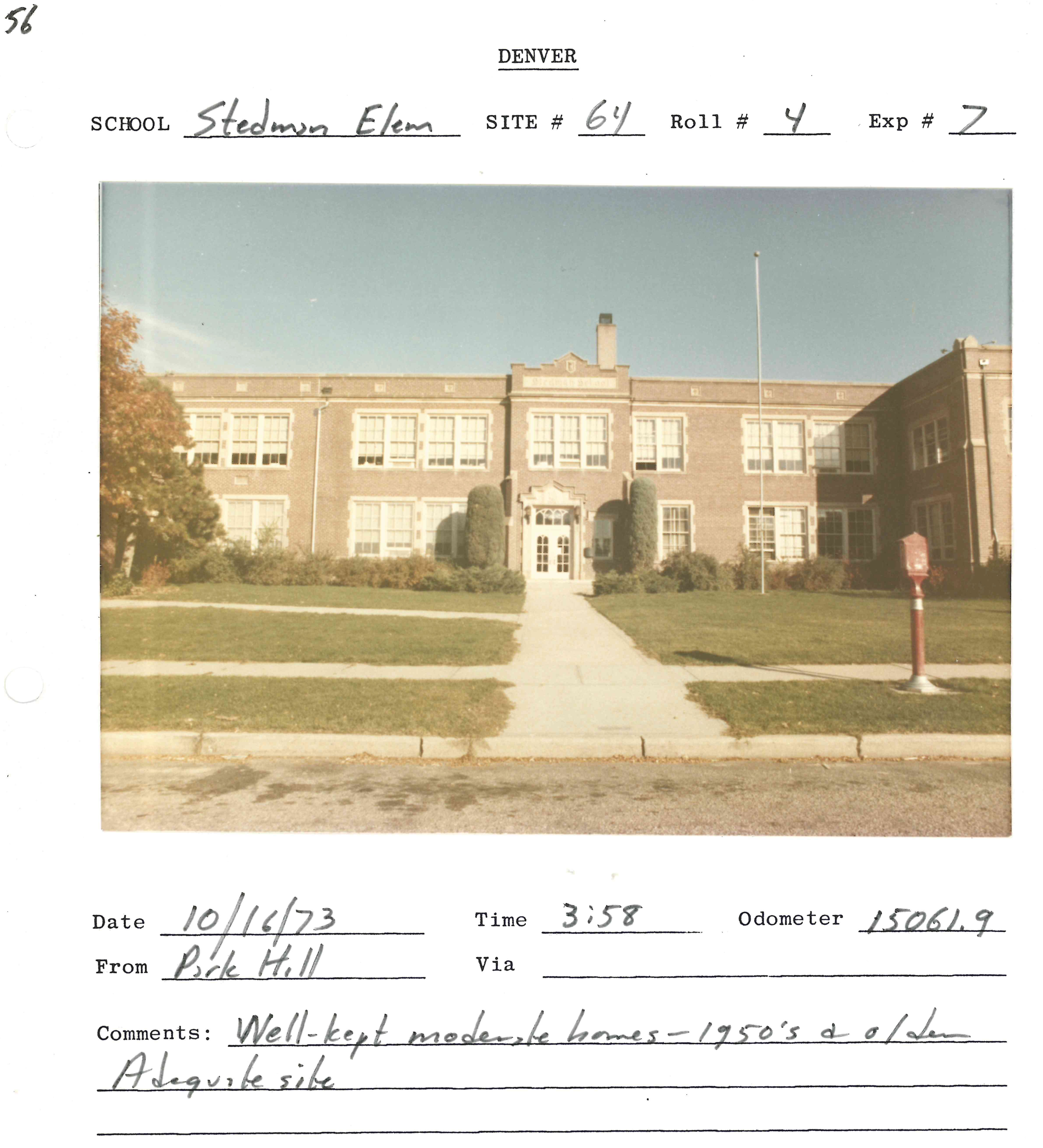 "Image of Stedman Elementary School with the caption ""An example of later evidence submitted to the court; 1973 site surveys of Denver schools. Stedman, still open today, is located in North Park Hill."""