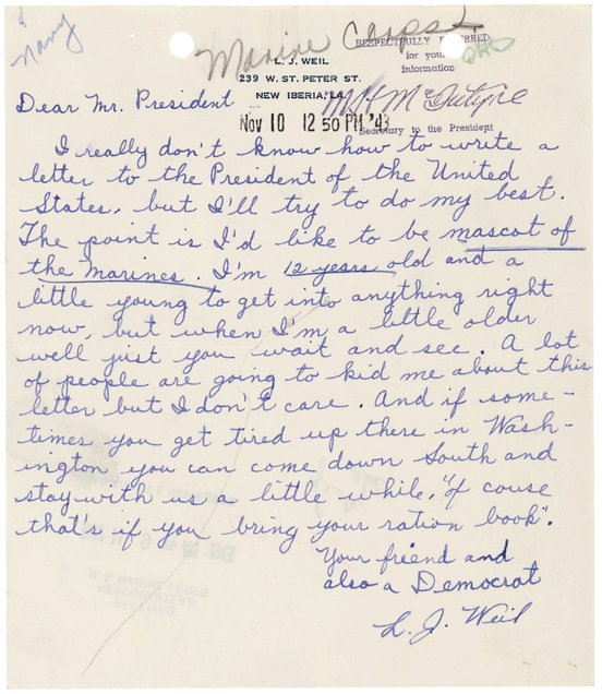 Letter of L. J. Weil to President Roosevelt, November 10, 1943