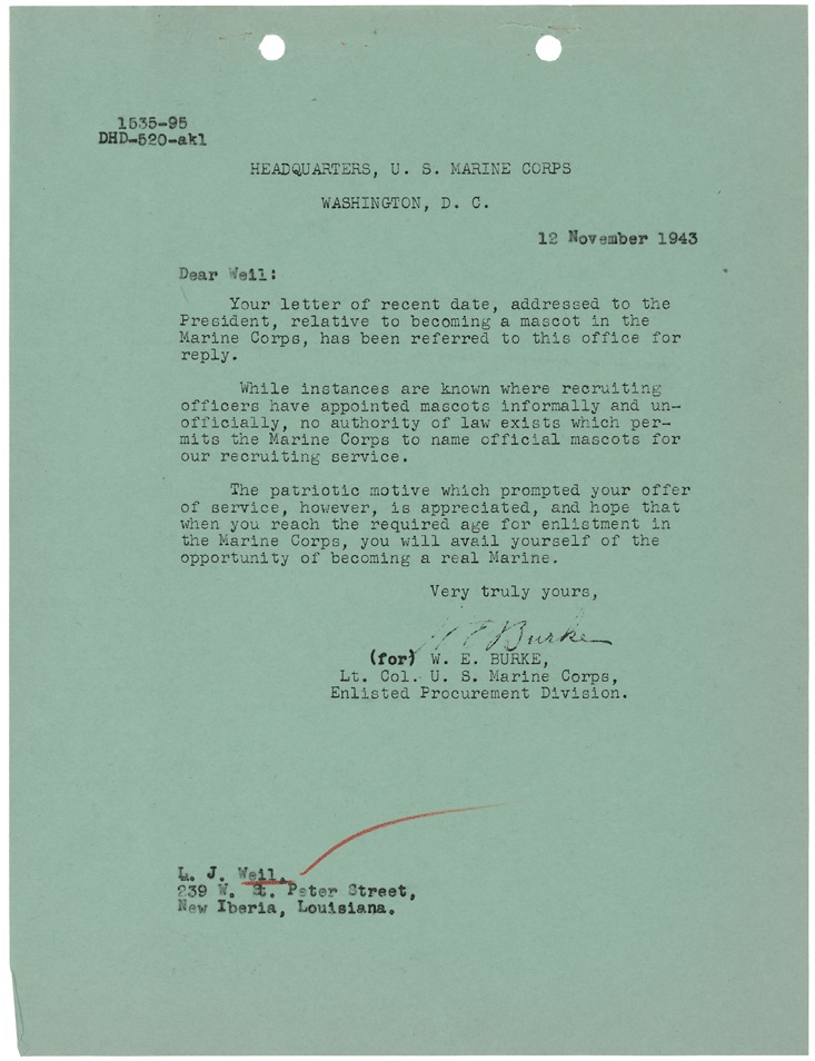 Letter from Lt. Col. W.E. Burke to L. J. Weil, Nov. 12, 1943