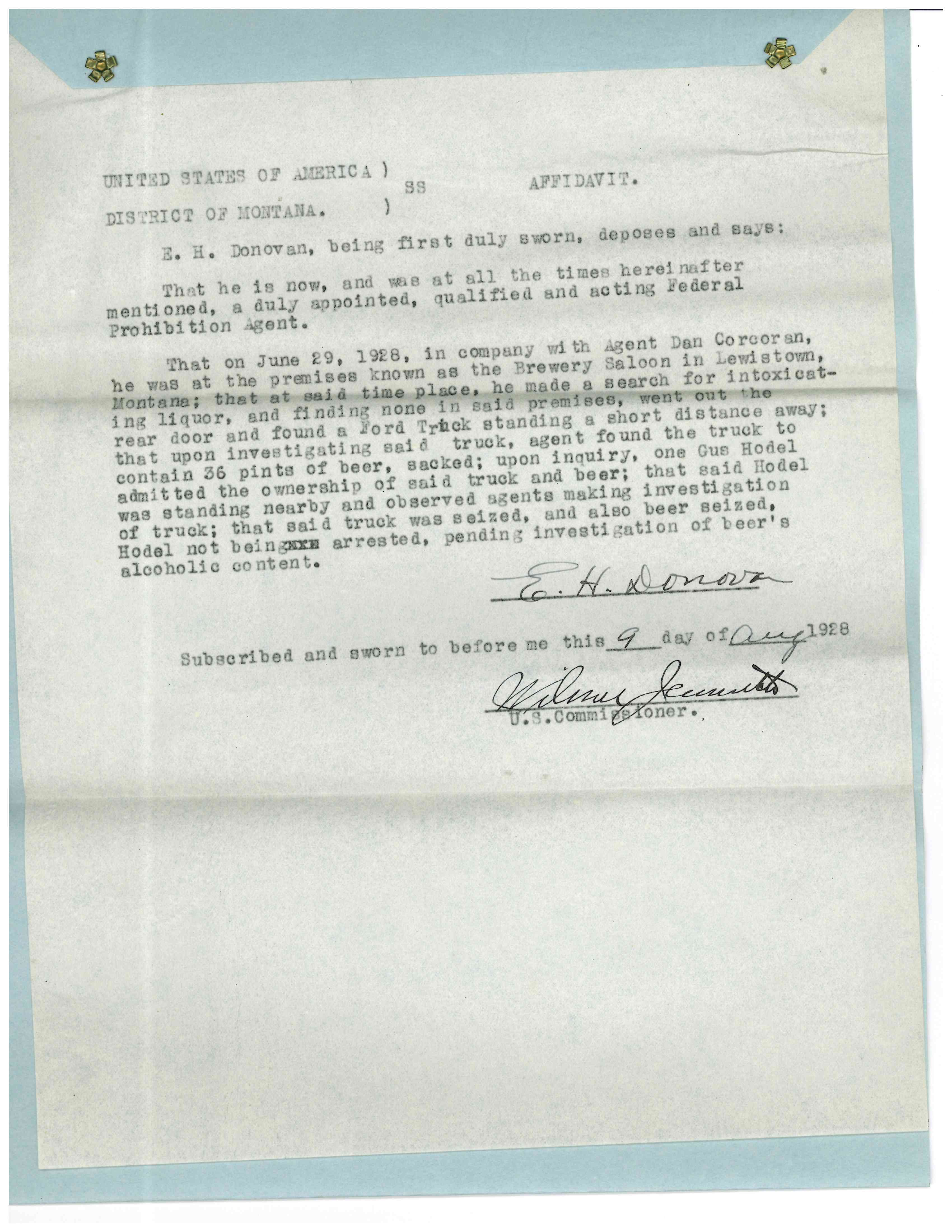 "Image of Affidavit describing how agents caught Hodel with illegal beer ""Criminal Case Files, 1924-1968"" NAID 568166, Box 41"