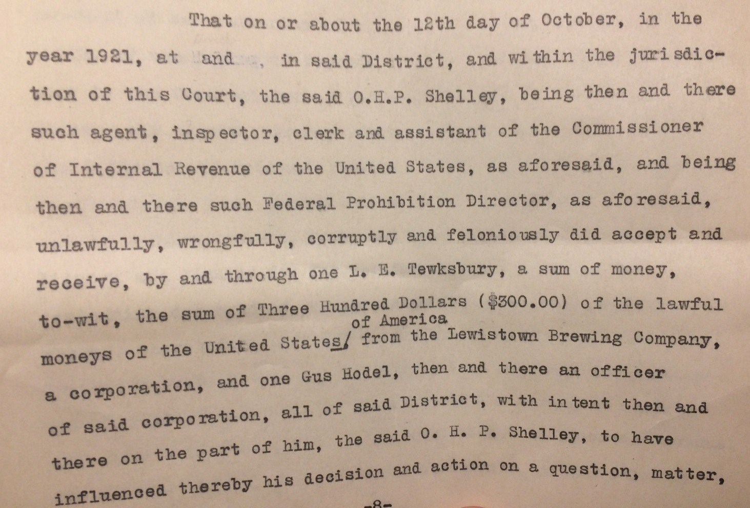 "Document excerpt from complaint detailing Hodel's involvement. ""Criminal Case Files, 1889-1961"" NAID 298174, Box 6763"