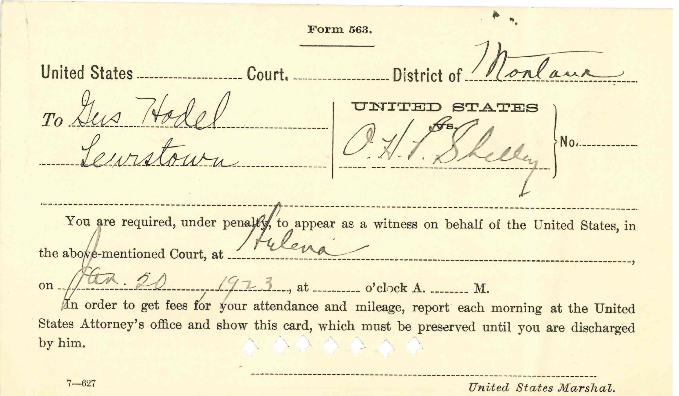 "Image of Subpoena card requiring Hodel to testify. ""Criminal Case Files, 1889-1961"" NAID 298174, Box 6763"