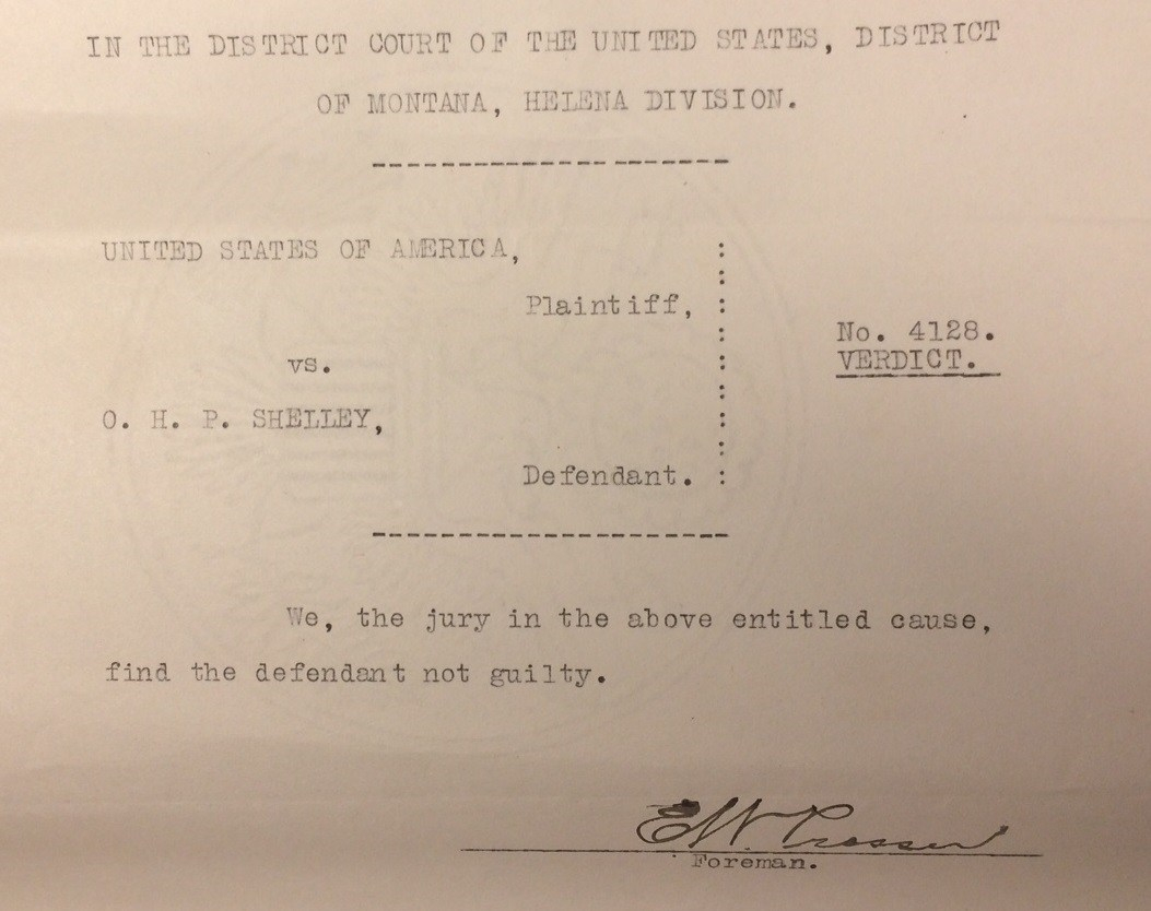 "Image of Verdict finding Shelley not guilty. ""Criminal Case Files, 1889-1961"" NAID 298174, Box 6763"