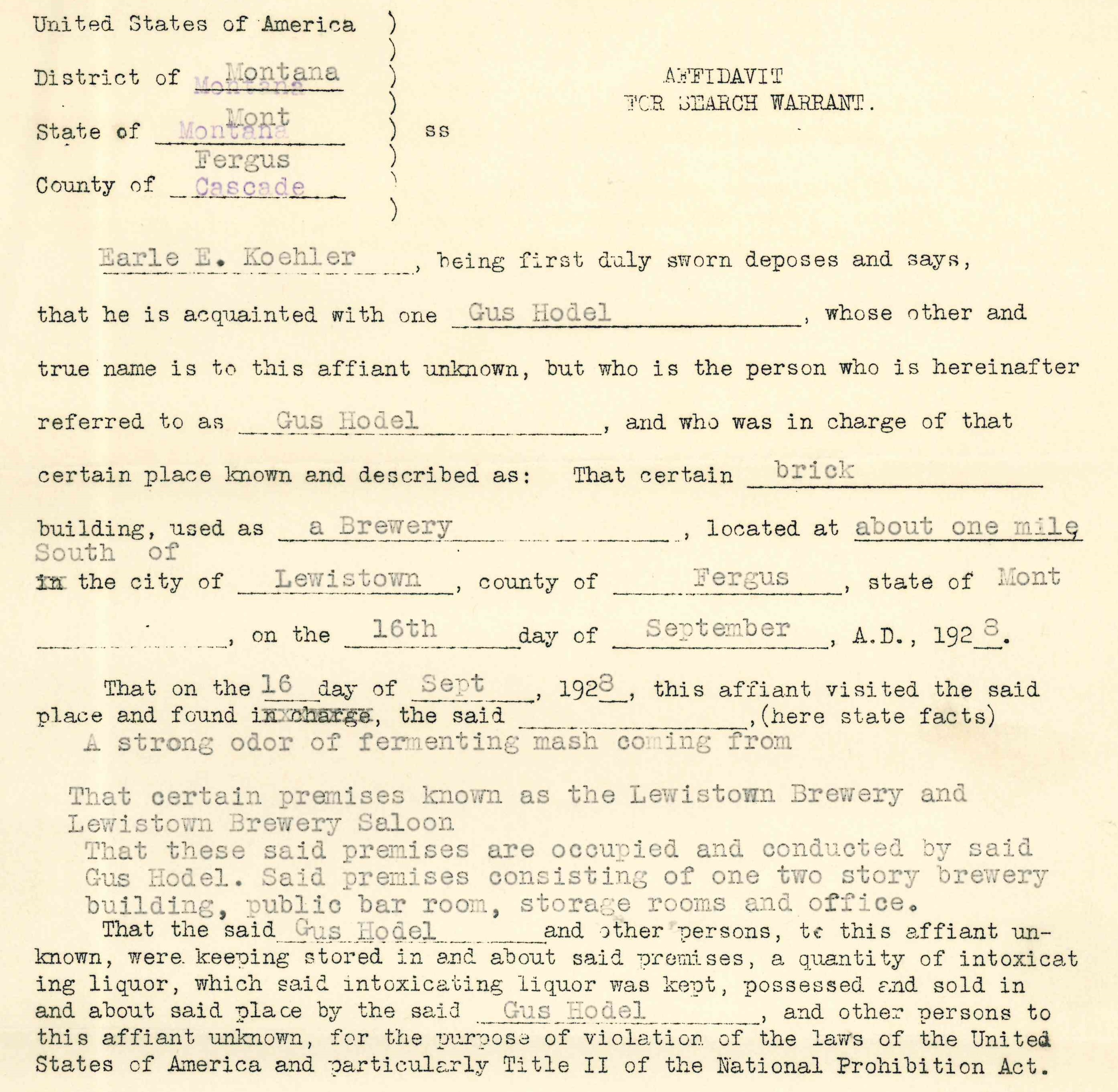"Image of Affidavit to justify search warrant for Lewistown Brewing Company ""Criminal Case Files, 1924-1968"" NAID 568166, Box 41"