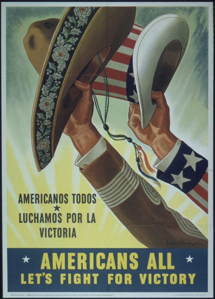A poster depicting two hands saluting with an Uncle Sam hat and a Mexican sombrero.