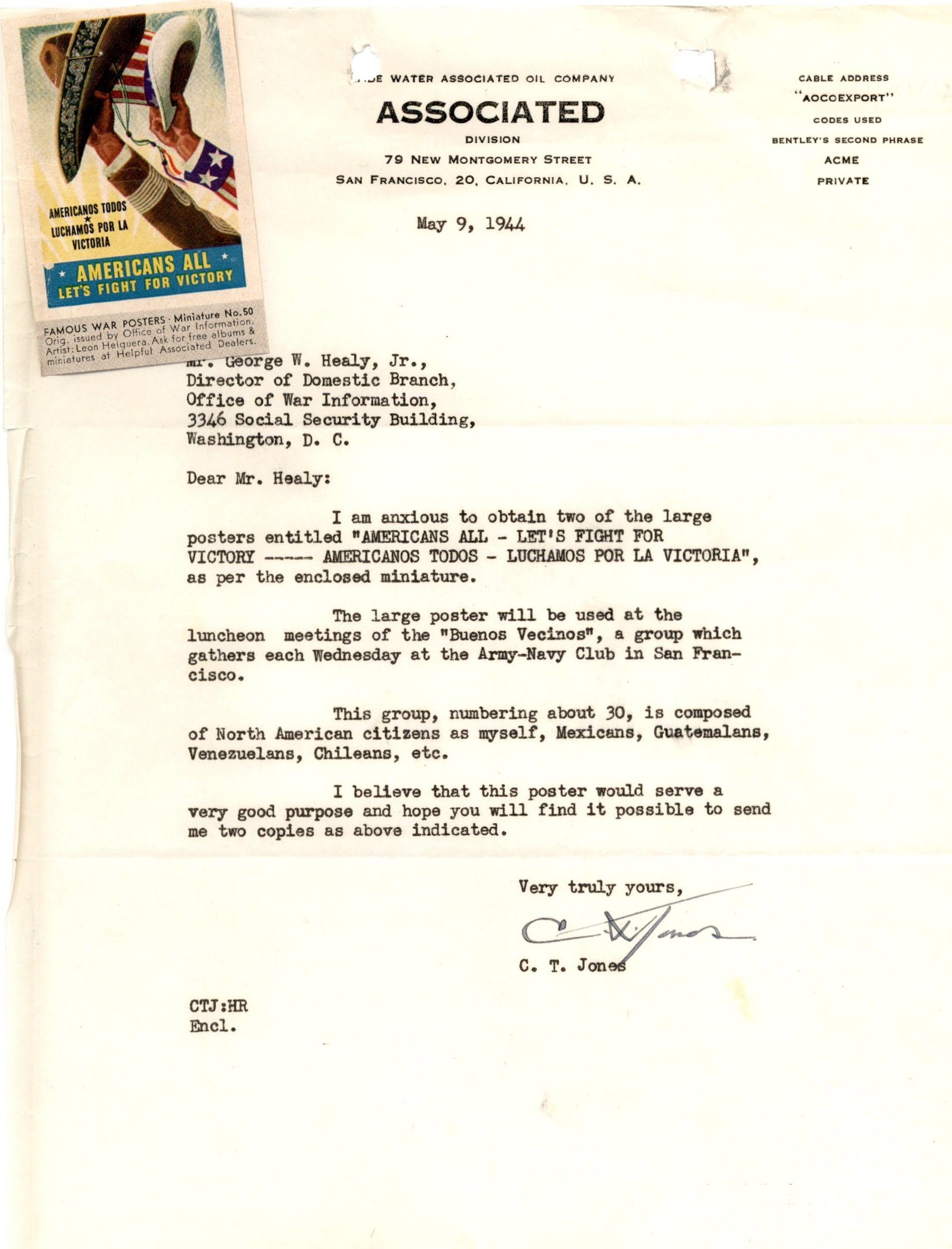 Letter from the Buenos Vecinos Club to OWI, May 9, 1944