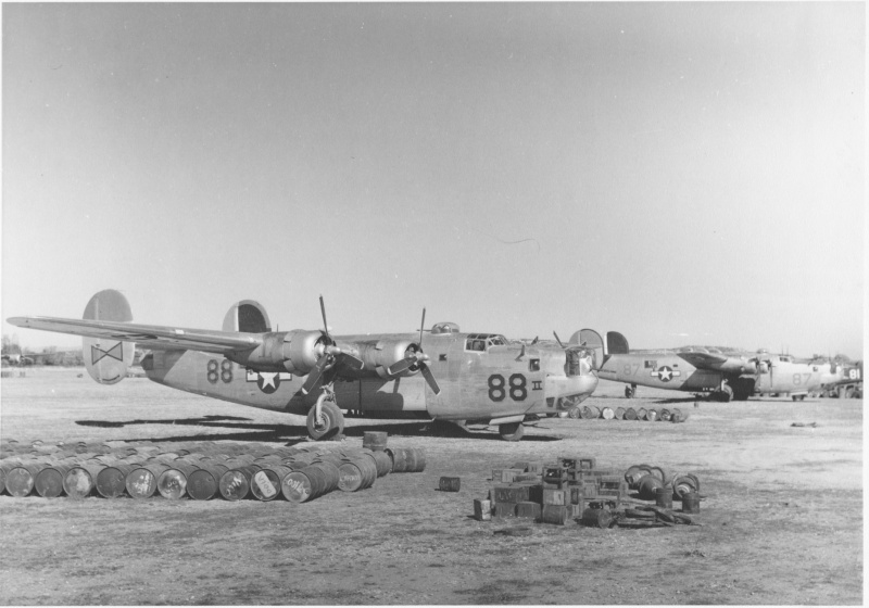 Image of B-24 plane on the ground.