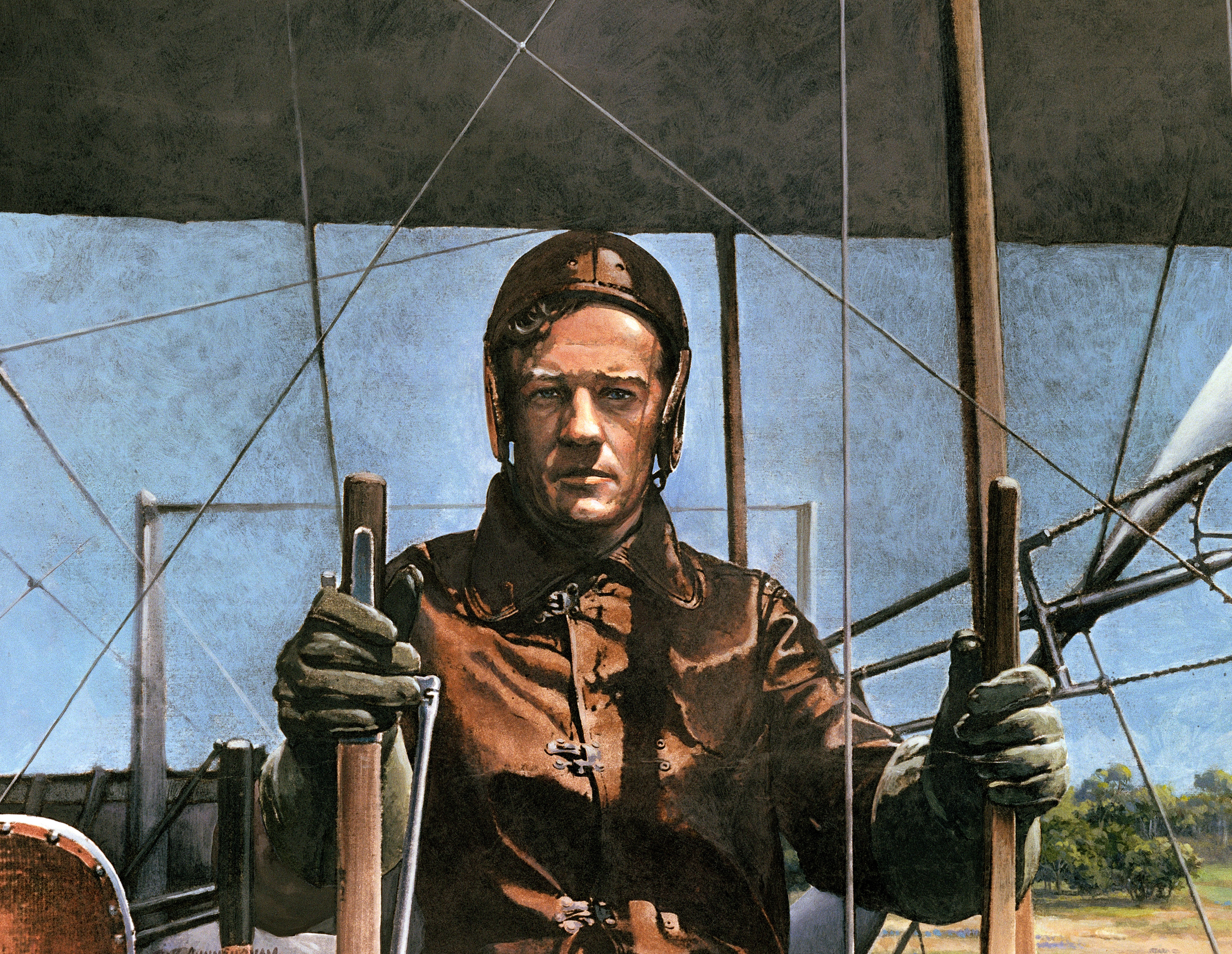 Painting of Lt. Ben. Foulois in airplane cockpit.