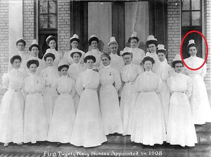 Image of the First Twenty Navy Nurses Appointed in 1908. Sara M. Cox is identified by the red oval.