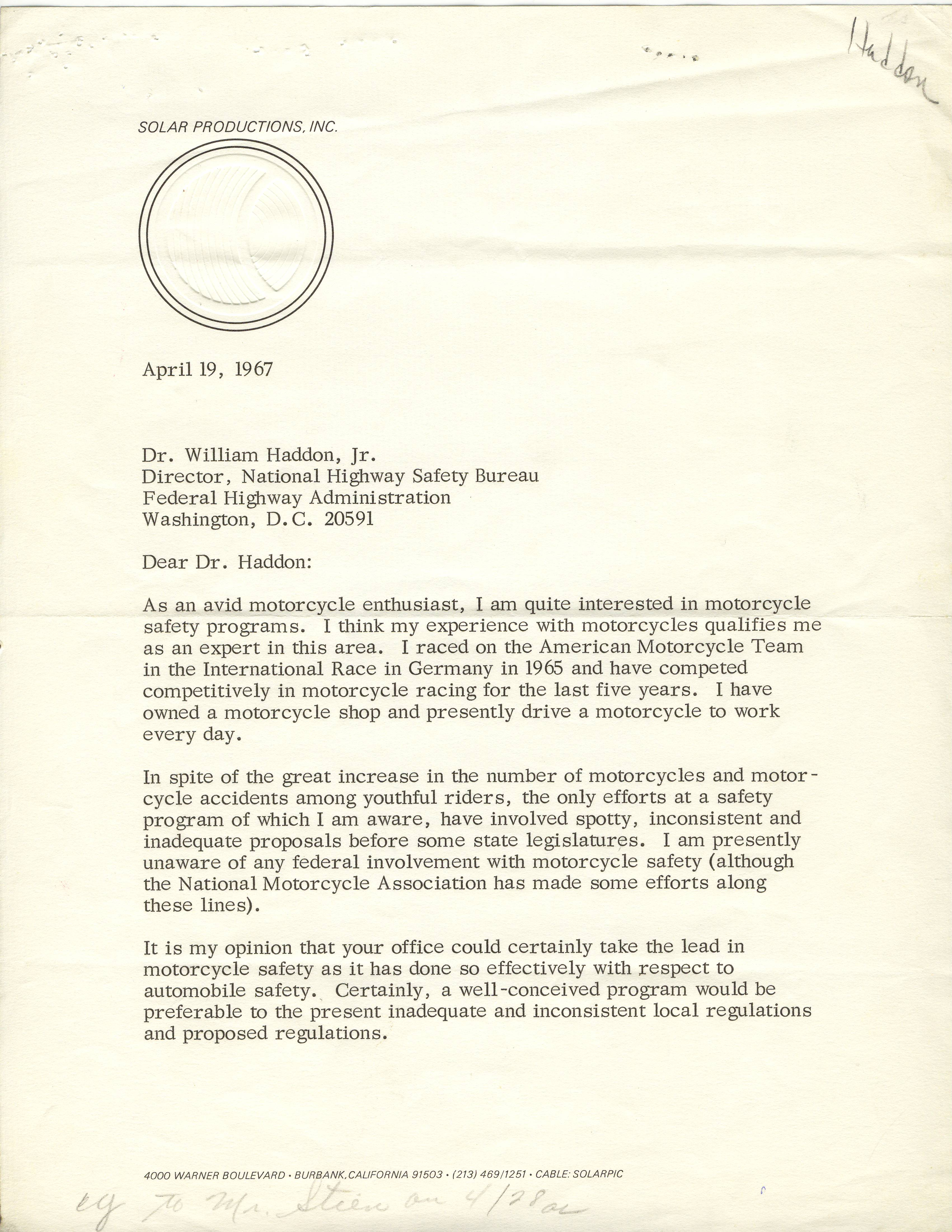 Letter from Steve McQueen to Dr. William Haddon, Jr., April 19, 1967.