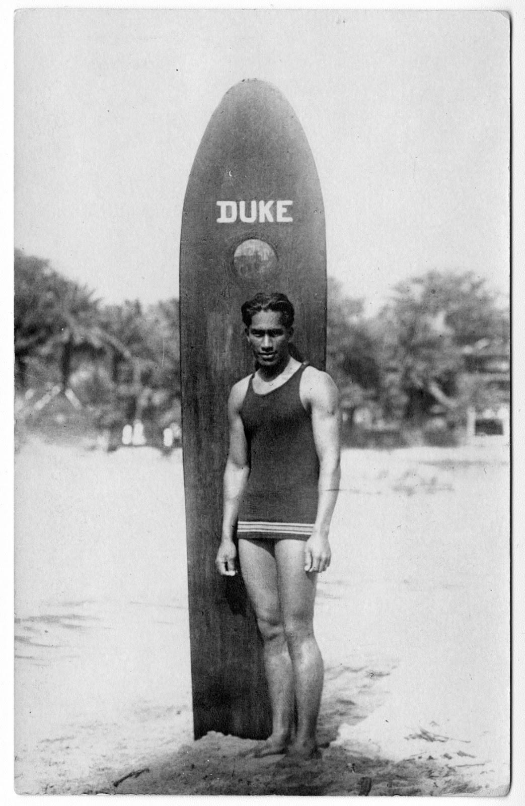 Image of Duke Kahanamoku with surfboard