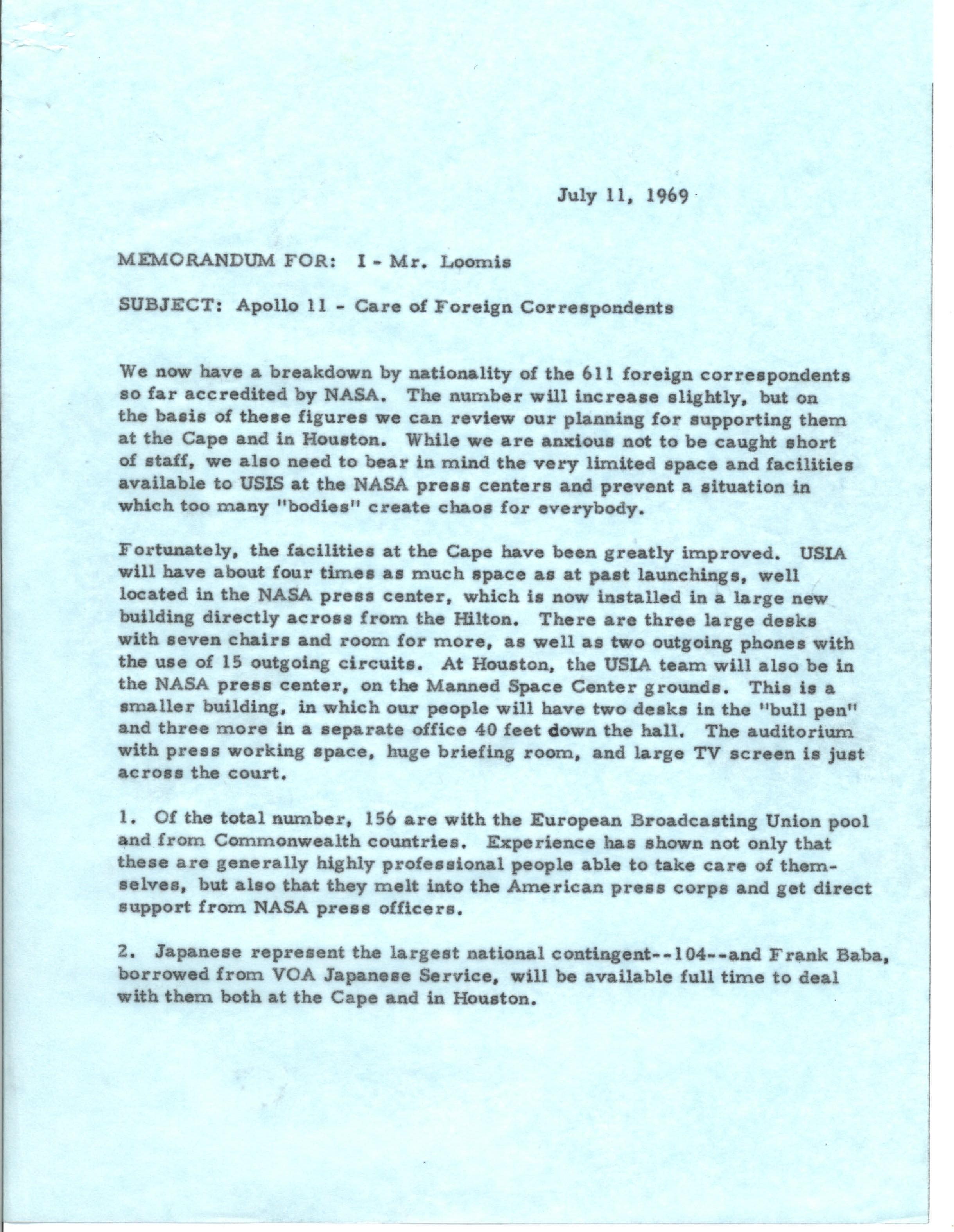 memo regarding the care of foreign correspondents for Apollo 11