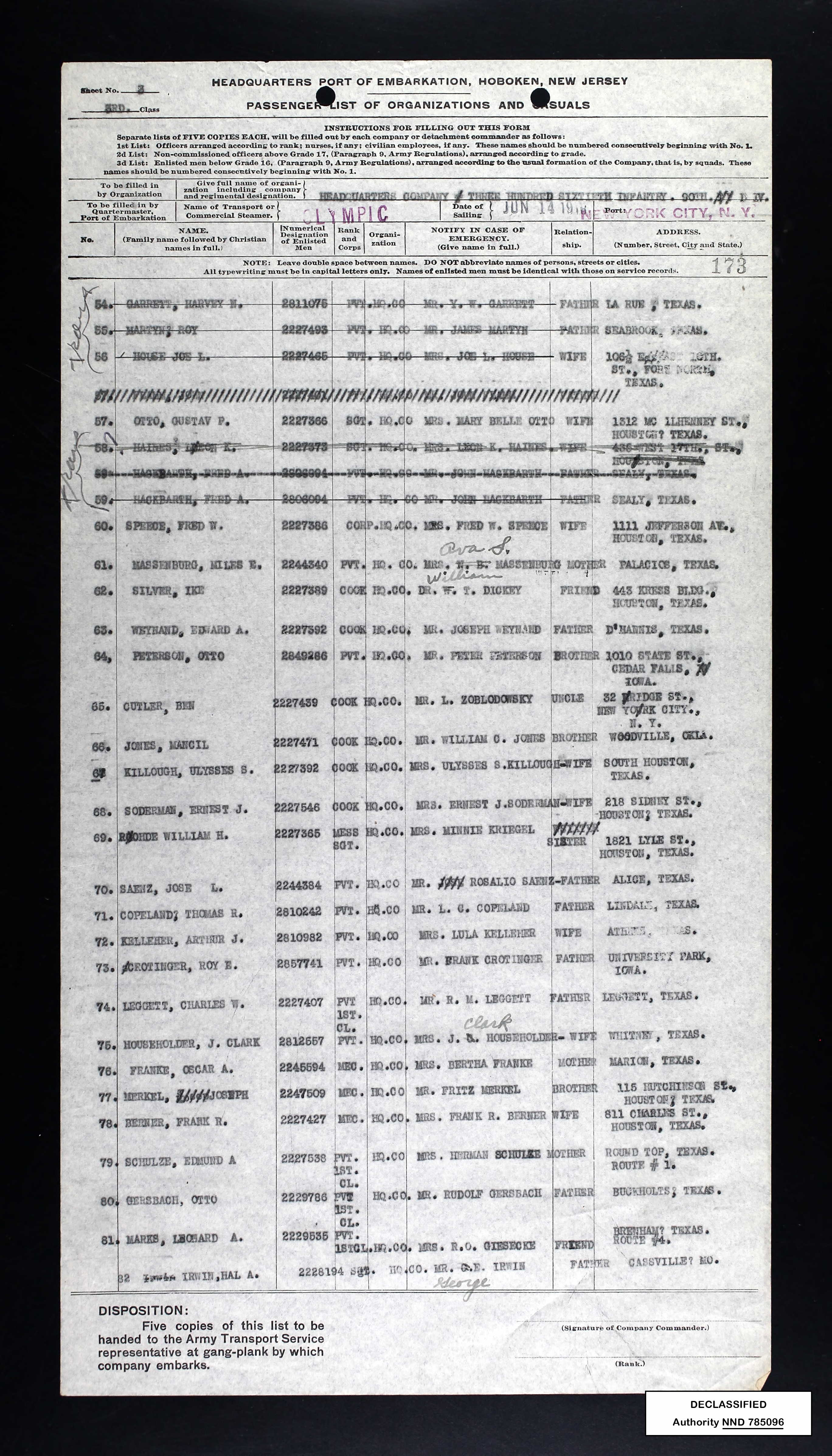 ship's passenger list