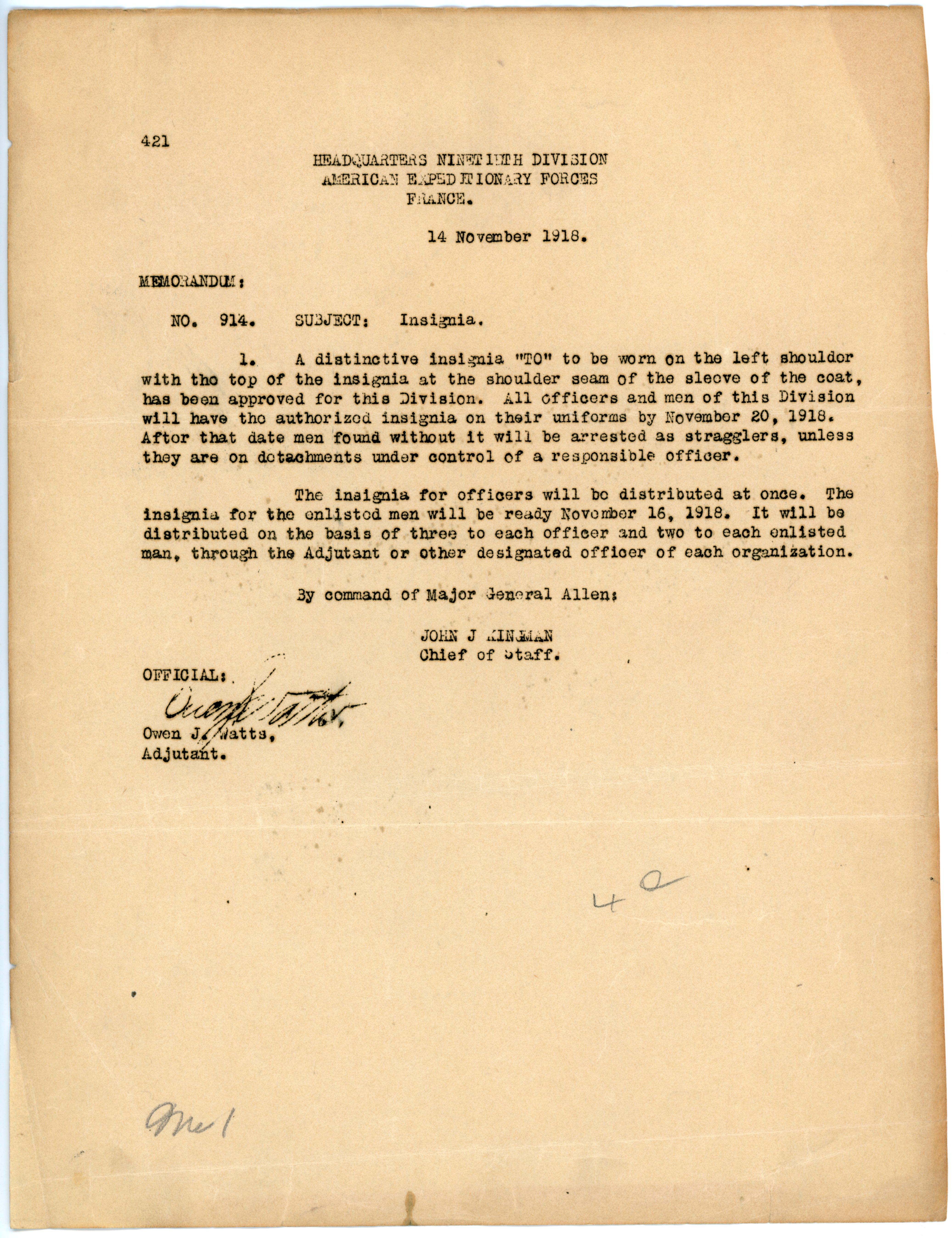 "memo about the ""TO"" insignia of 90th Division"
