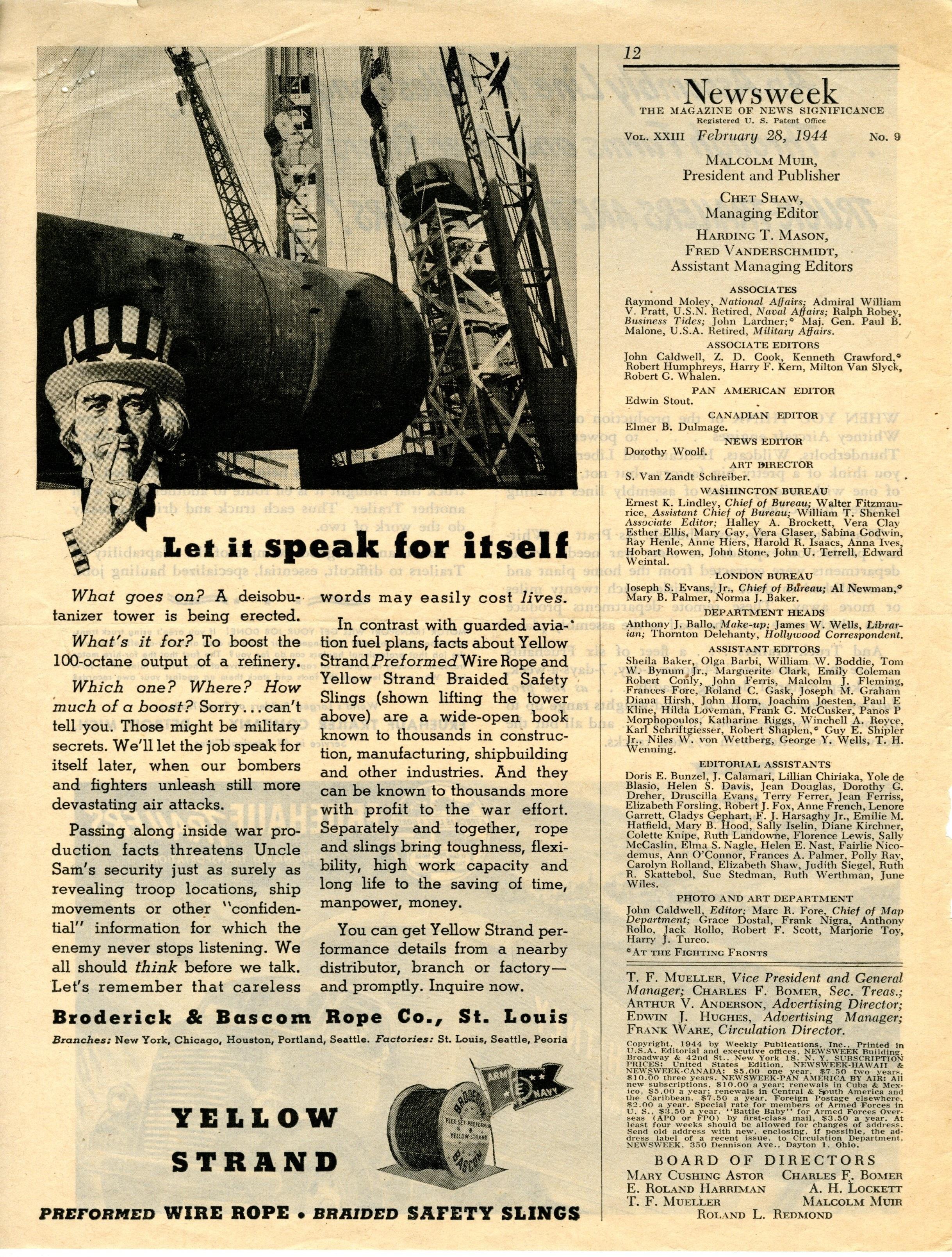 Broderick & Bascom Rope Co. Advertisement in Newsweek magazine.