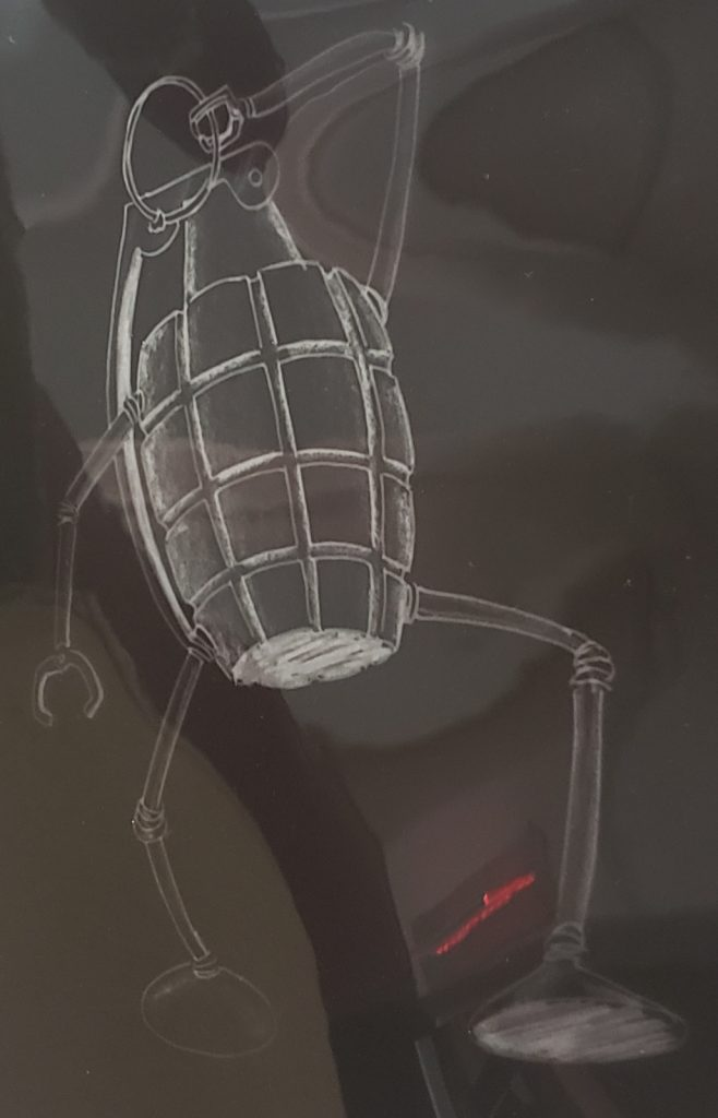 drawing of an anthropomorphized hand grenade