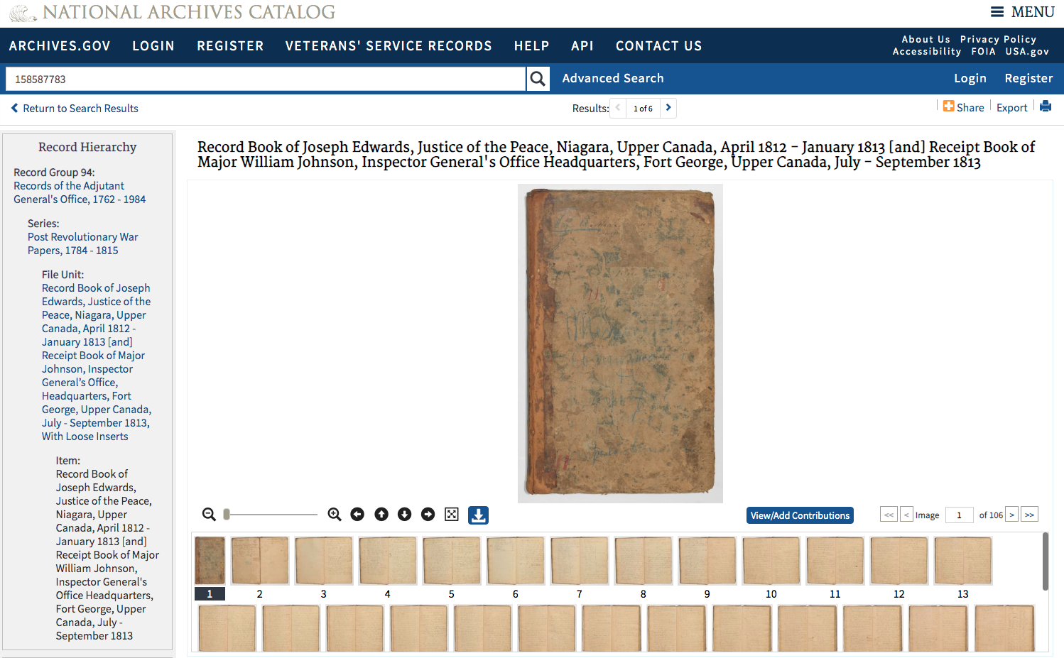Screen shot of the Record Book of Joseph Edwards in the National Archives Catalog.