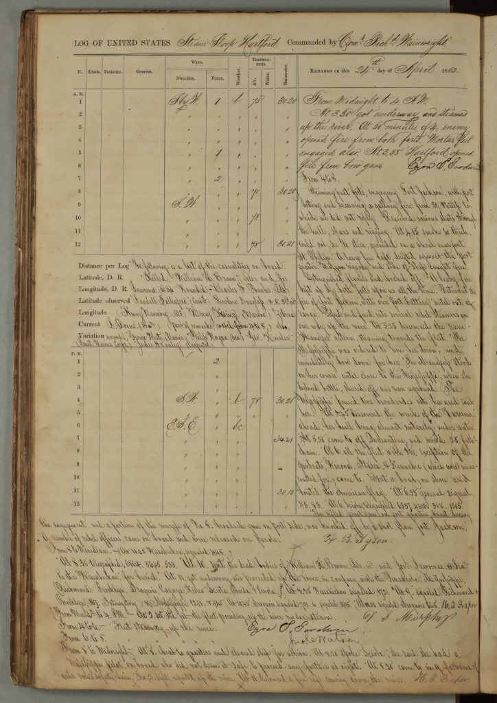 page from logbook of USS Hartford, handwritten text