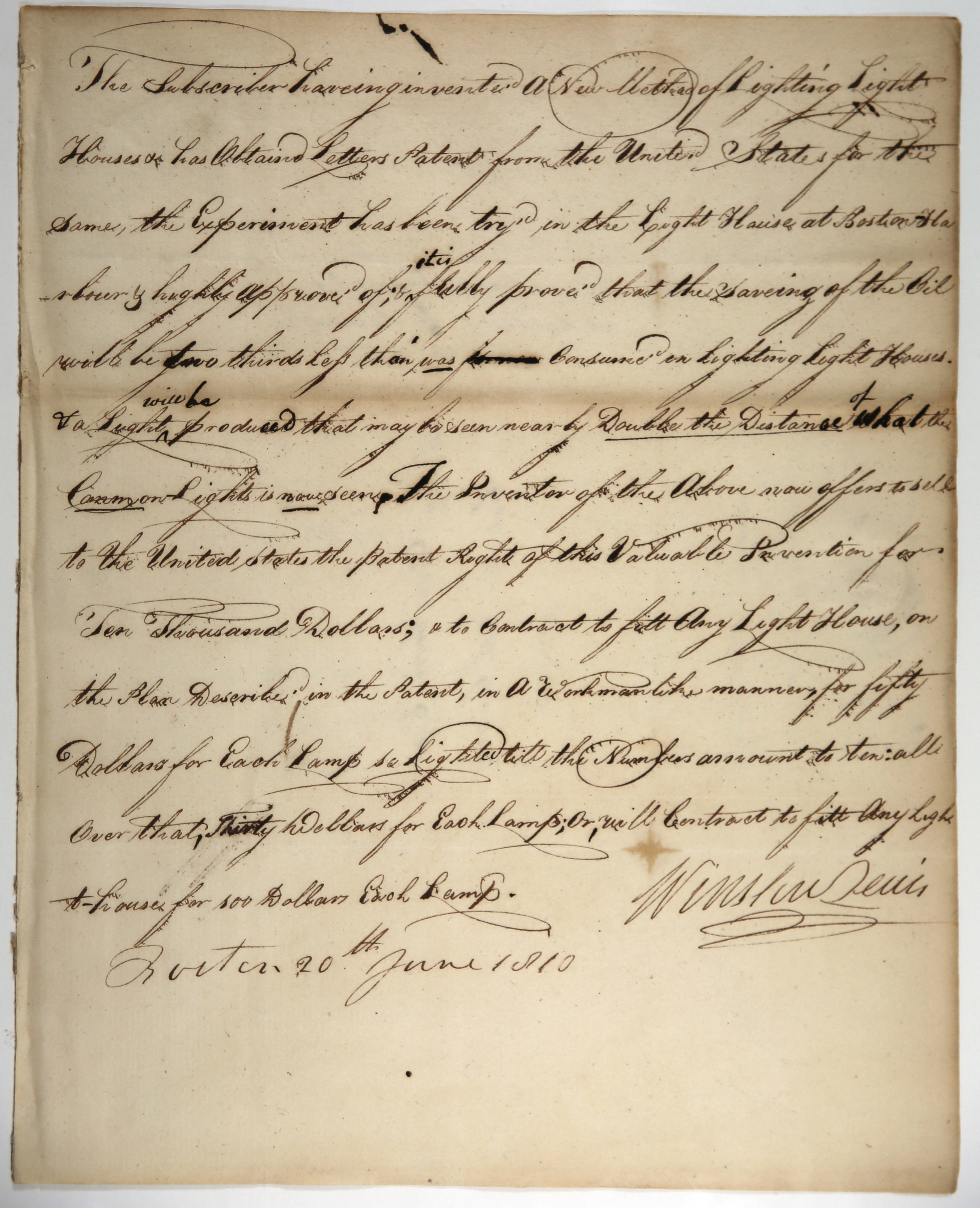 Image of letter by Winslow Lewis to Henry Dearborn, June 20, 1810.