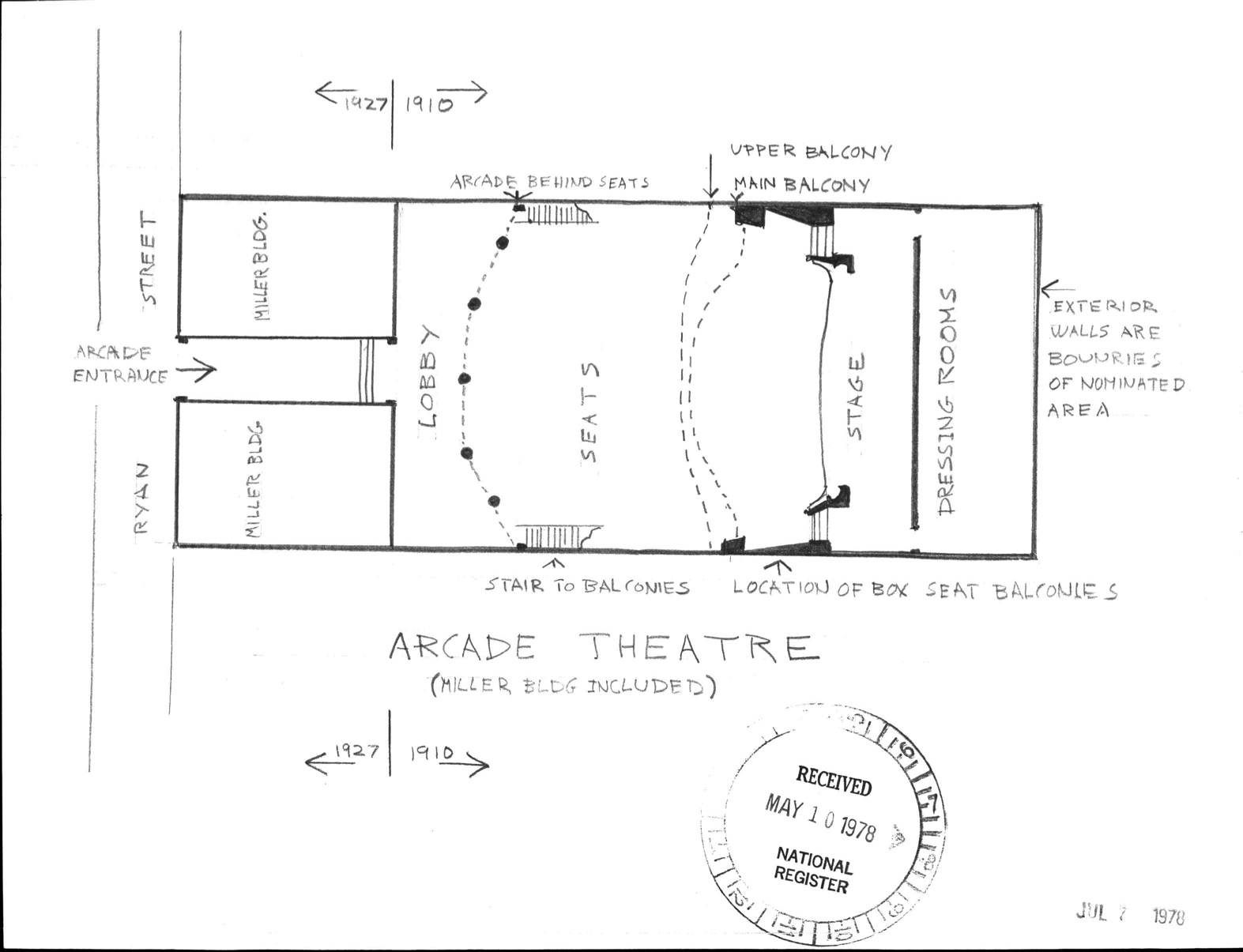 image showing an architectural plan for the Arcade Theatre.