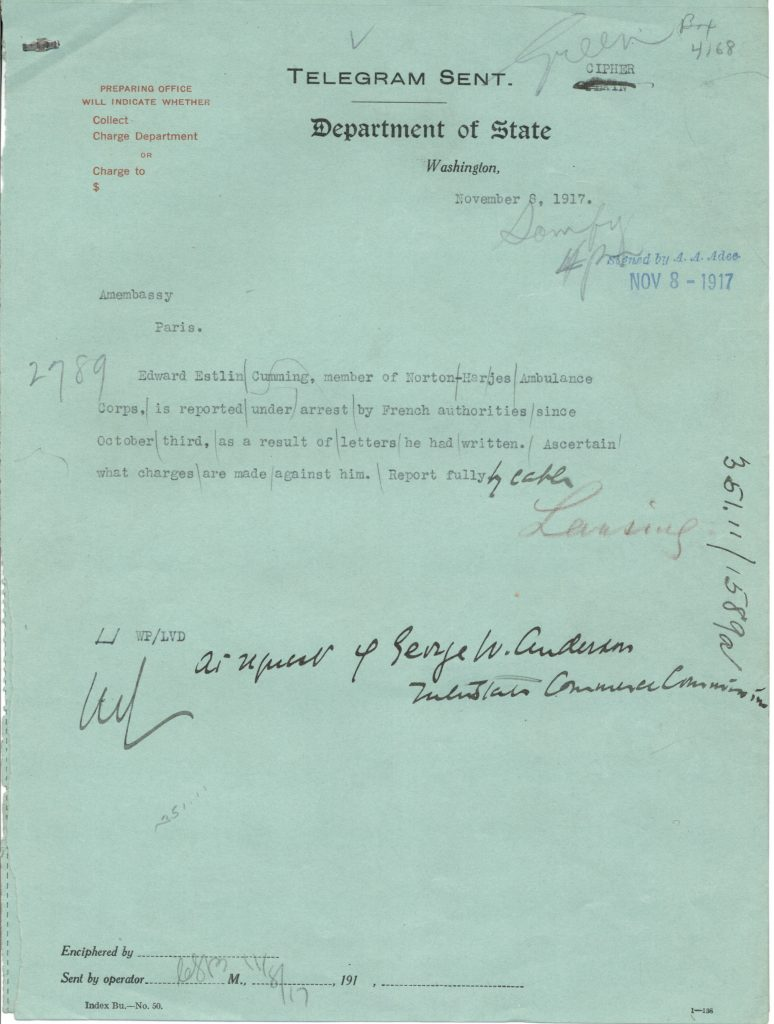 telegram reporting the arrest of EE Cummings on Oct 3, 1917 for letters he wrote