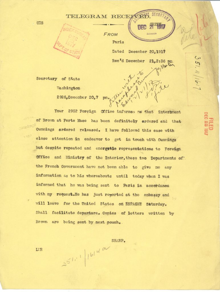 telegram reporting Cummings is released and Brown is being held at Forte Mace. Cummings sailing for the US on the Espagne