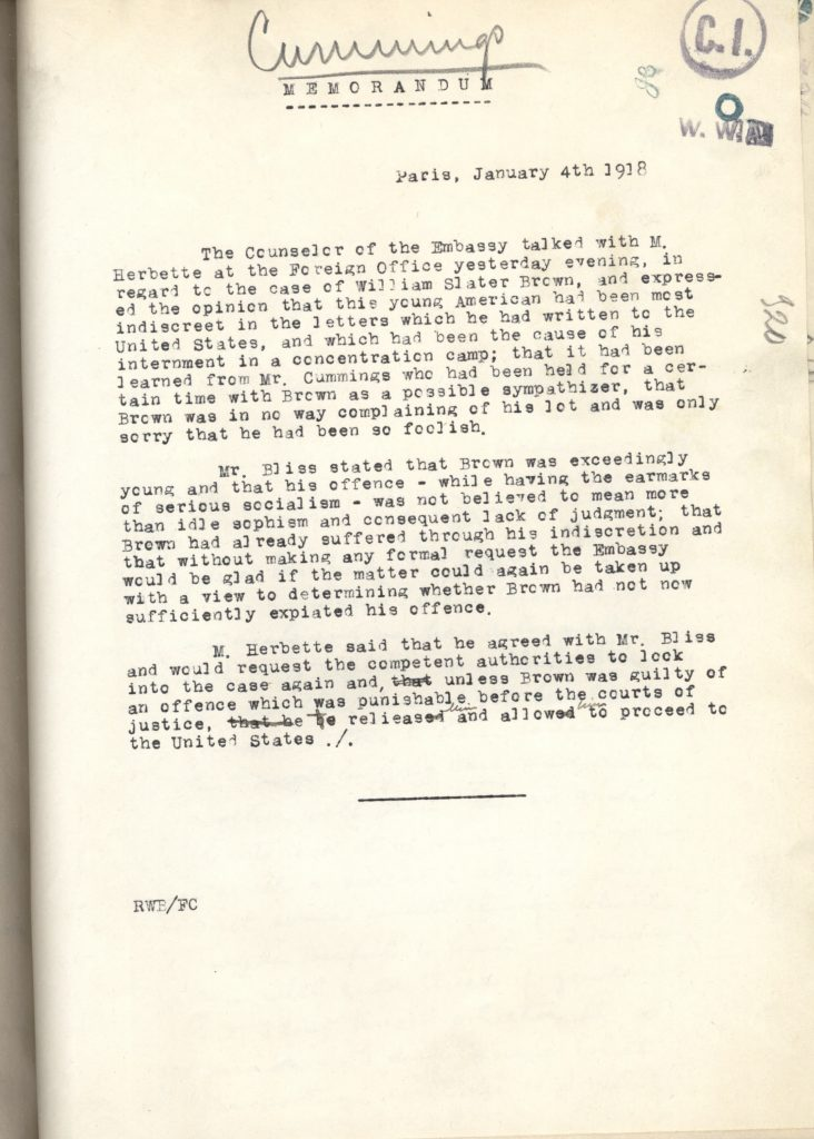 letter explains Brown's letter was a result of his youth, lack of judgement, and not a serious expression of socialism