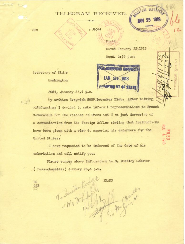 telegram informing of the release and return to US of William Slater Brown