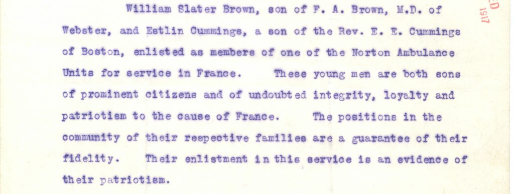 excerpt from letter vouching for the integrity of Cummings and Brown