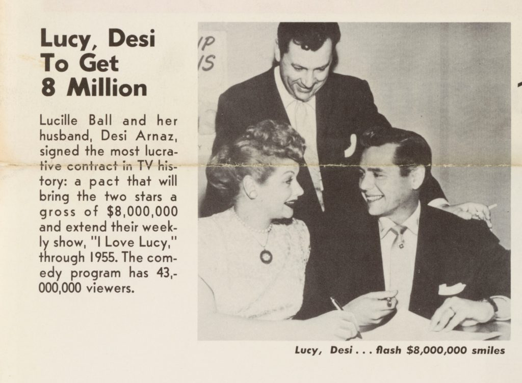 """Lucy, Desi to Get 8 Million"" w/picture of Desi Arnaz & Lucille Ball smiling at each other"